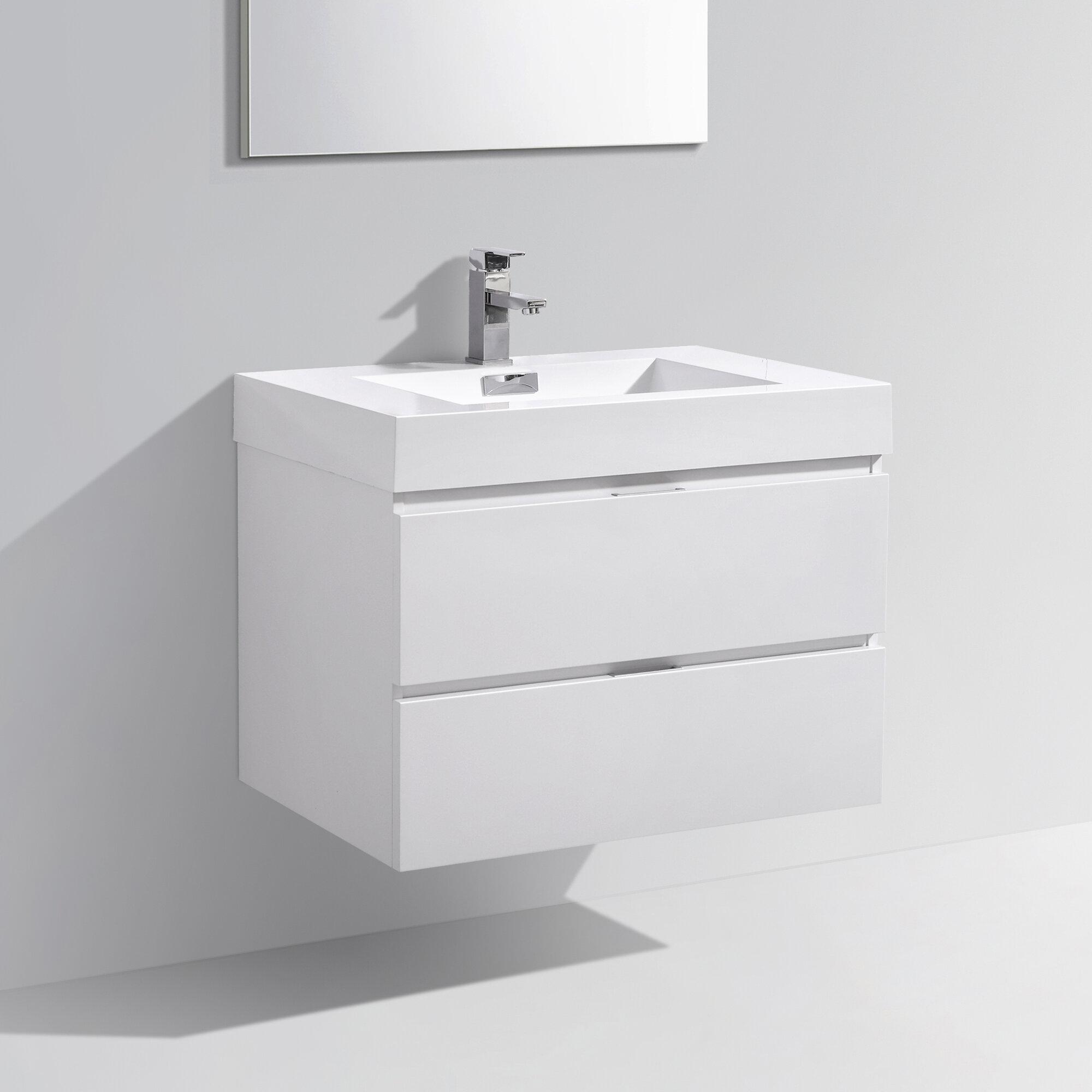 Kube Bath Bliss 30 Single Wall Mount Modern Bathroom Vanity Set EBay