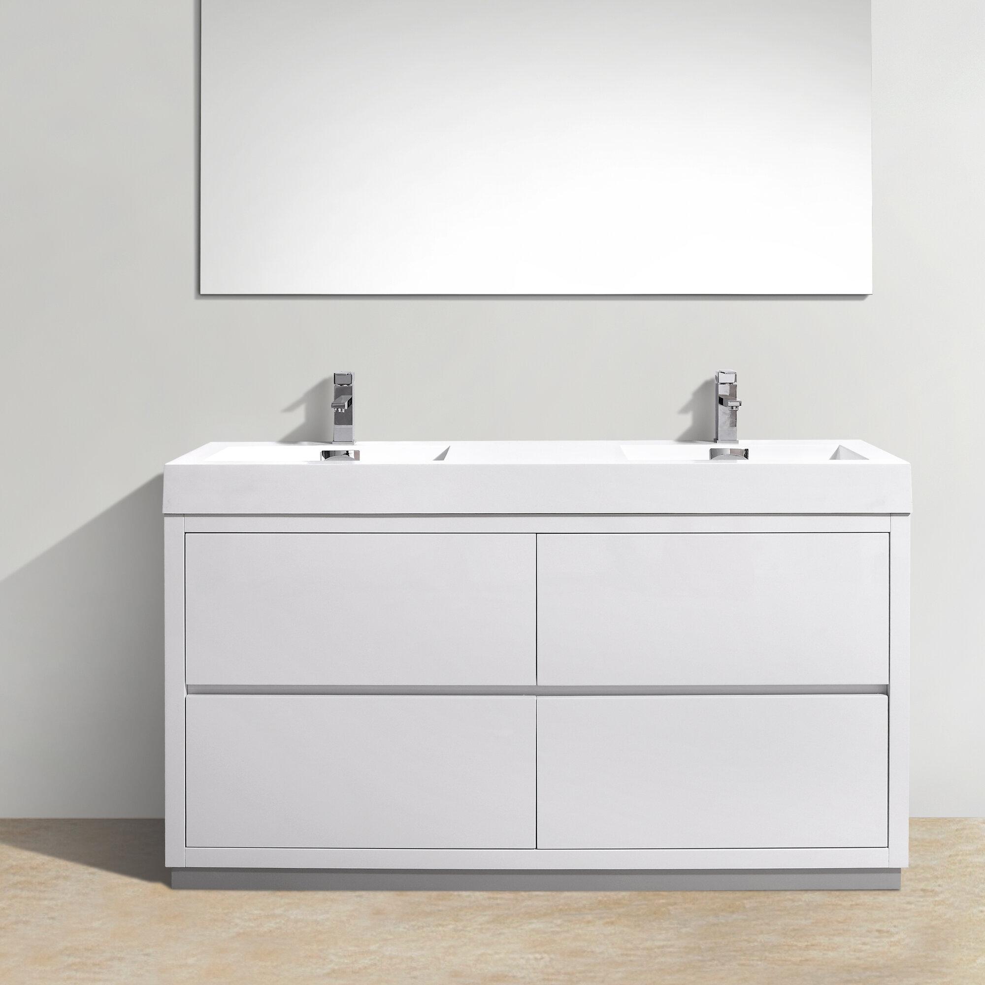 Kube bath bliss 60 double free standing modern bathroom vanity set ebay for Free standing bathroom vanities