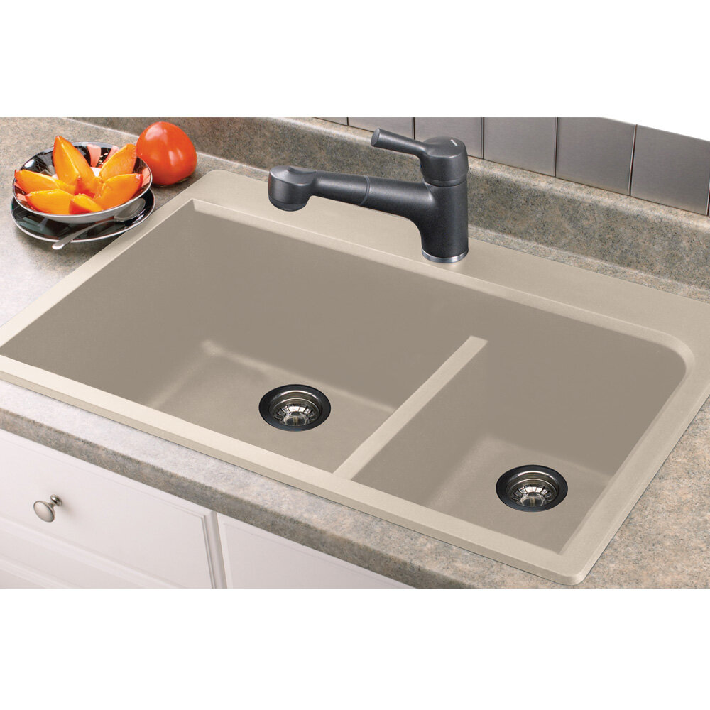 "Kitchen Sink Offset From Window: Transolid Radius 33"" X 22"" Granite Double Offset Drop-in"