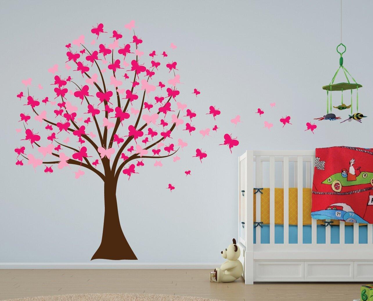 Innovative stencils butterfly cherry blossom tree baby for Cherry blossom wall mural stencil