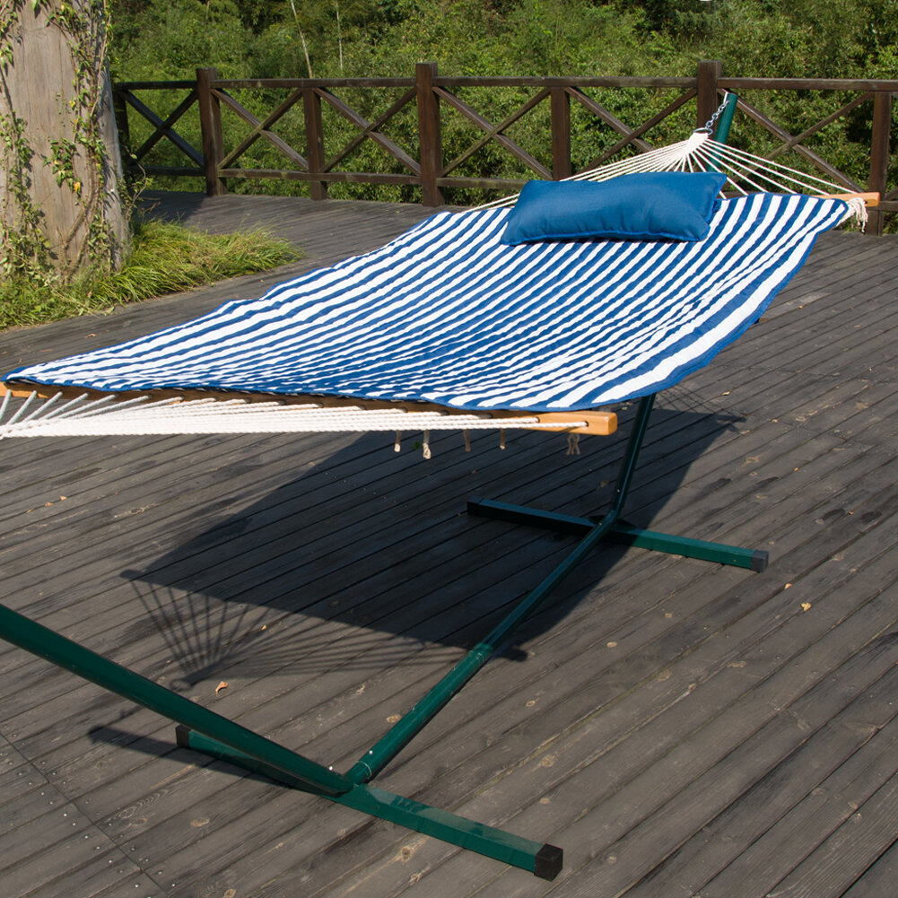 Prime garden cotton hammock with stand for Rope hammock plans