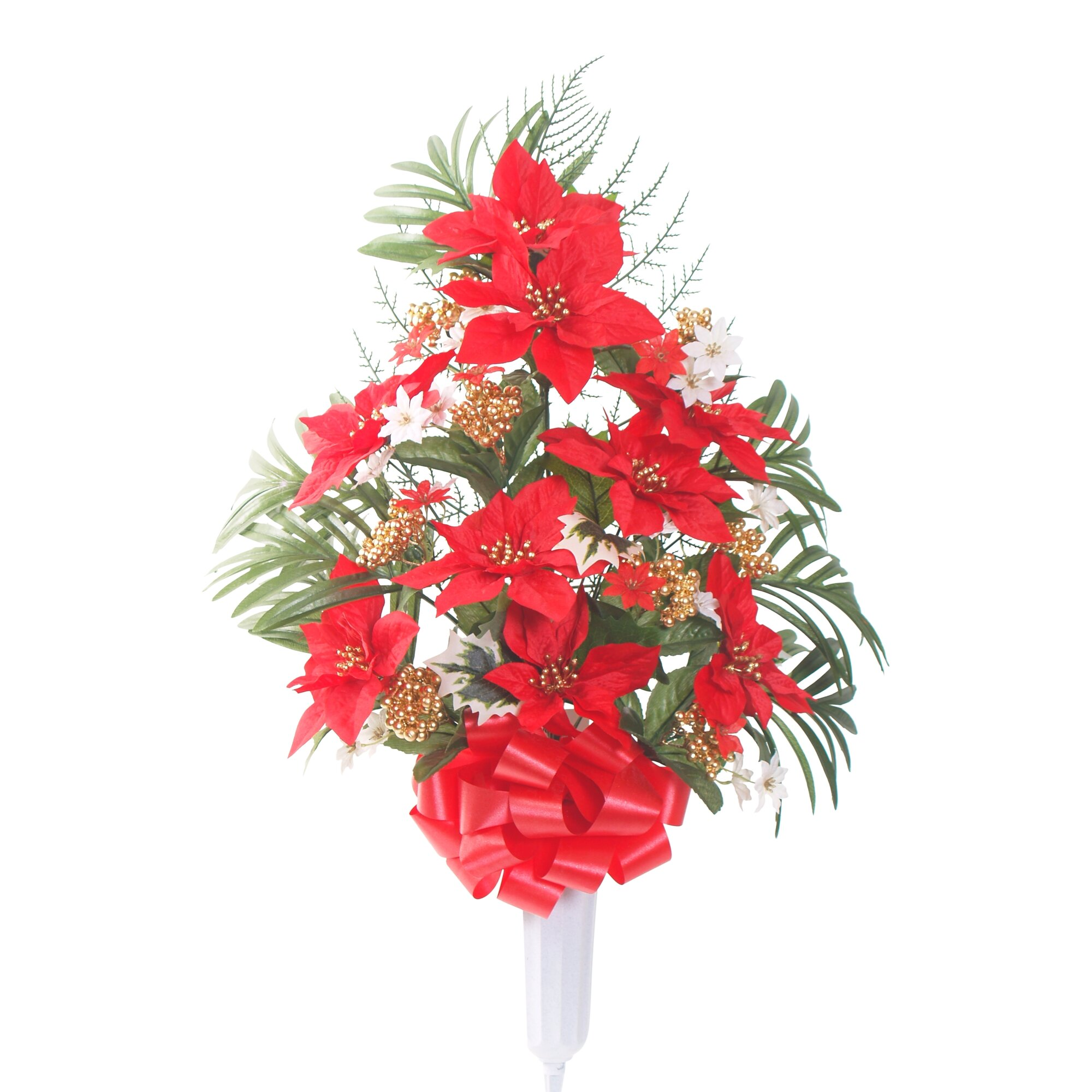 Teters memorial signature poinsettia floral vase for Poinsettia arrangements