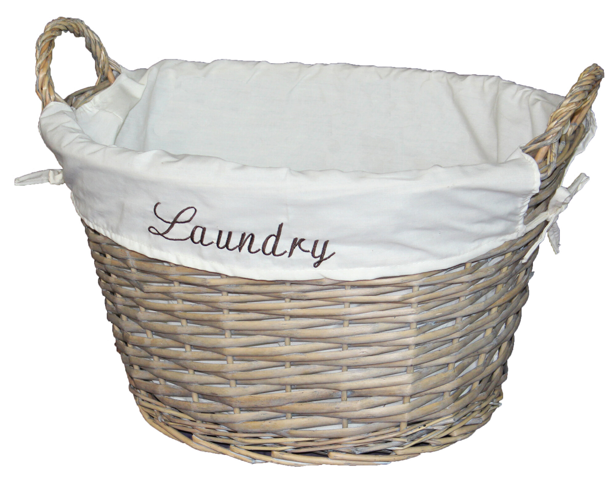 vintiquewise wicker laundry basket with white liner ebay. Black Bedroom Furniture Sets. Home Design Ideas