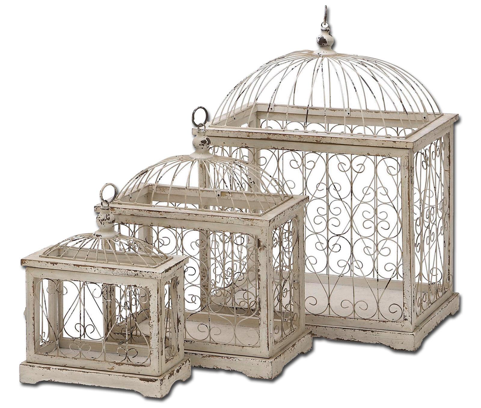 Urban Designs 3 Piece Weathered Decorative Metal Bird Cage Set