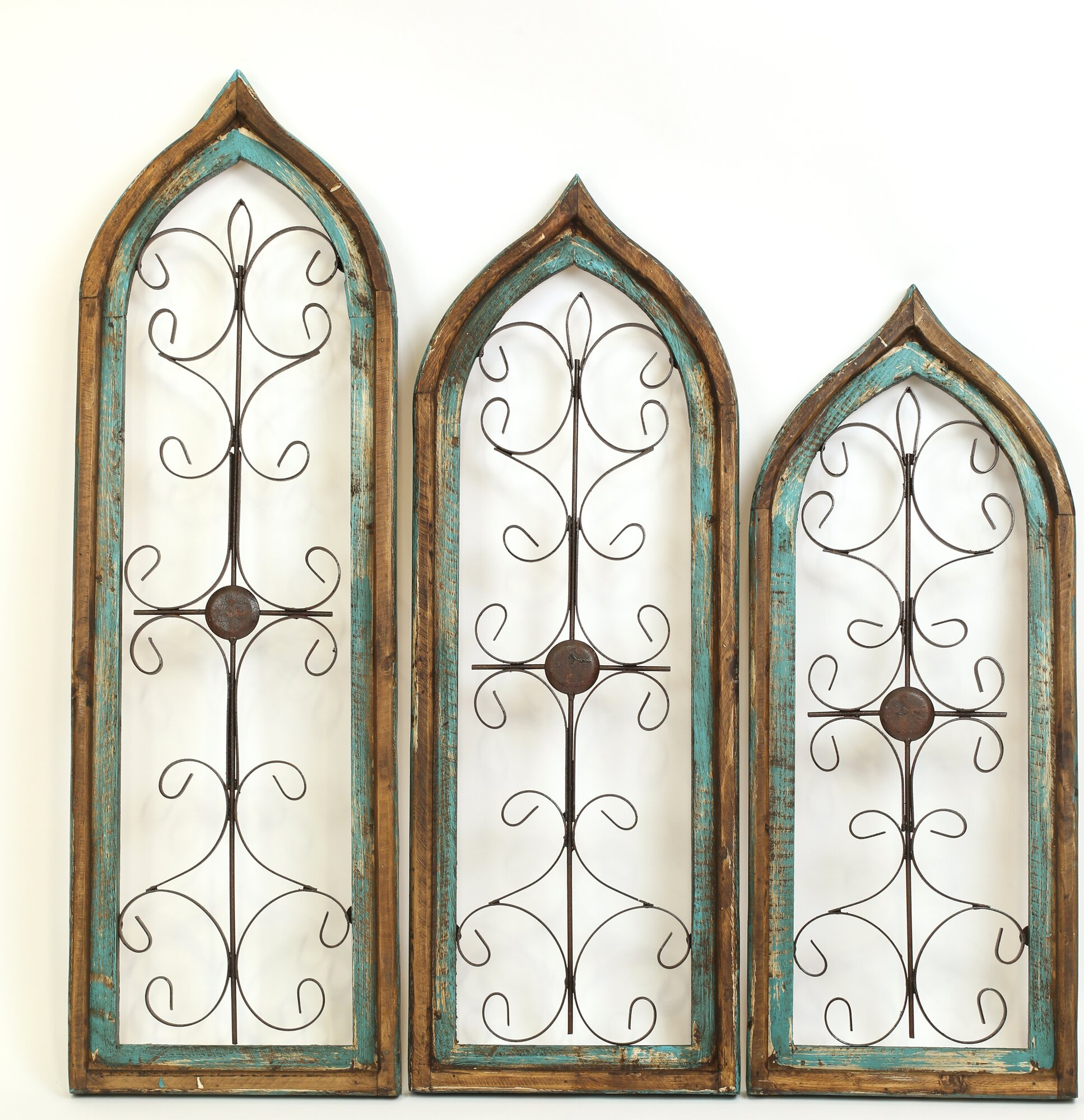 My amigos imports gothic 3 piece architectural window wall for Window arch wall decor