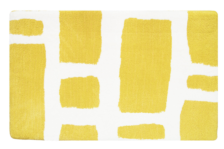 fabbrica home lemon yellow white modern memory foam bath rug ebay. Black Bedroom Furniture Sets. Home Design Ideas