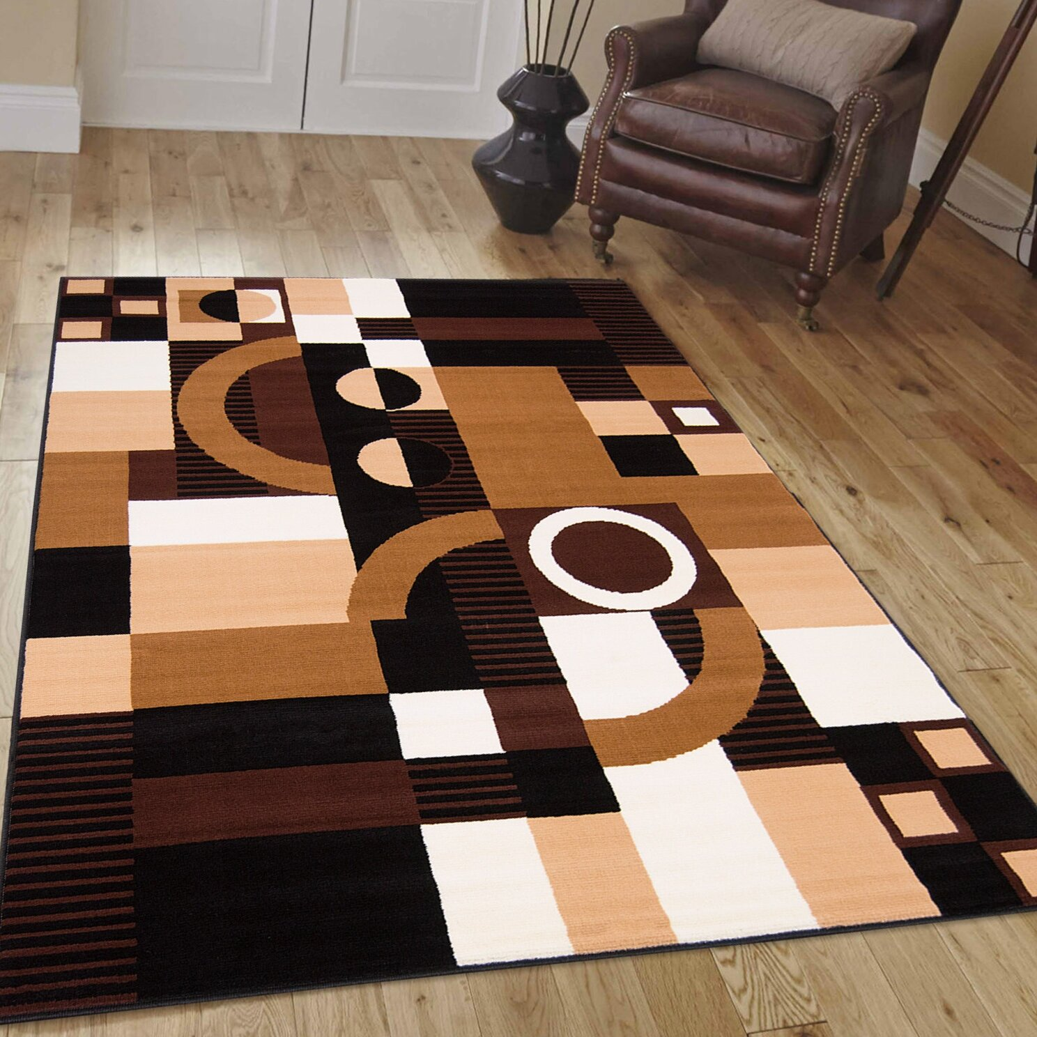 allstar rugs hand woven black brown area rug ebay. Black Bedroom Furniture Sets. Home Design Ideas