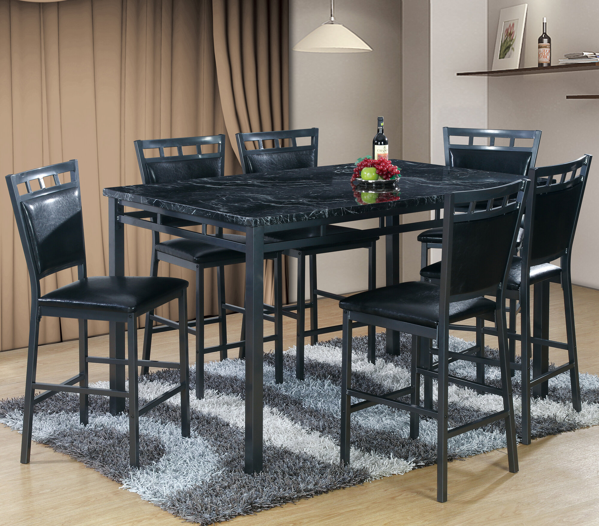 Best Quality Dining Room Furniture: Best Quality Furniture 7 Piece Counter Height Dining Table