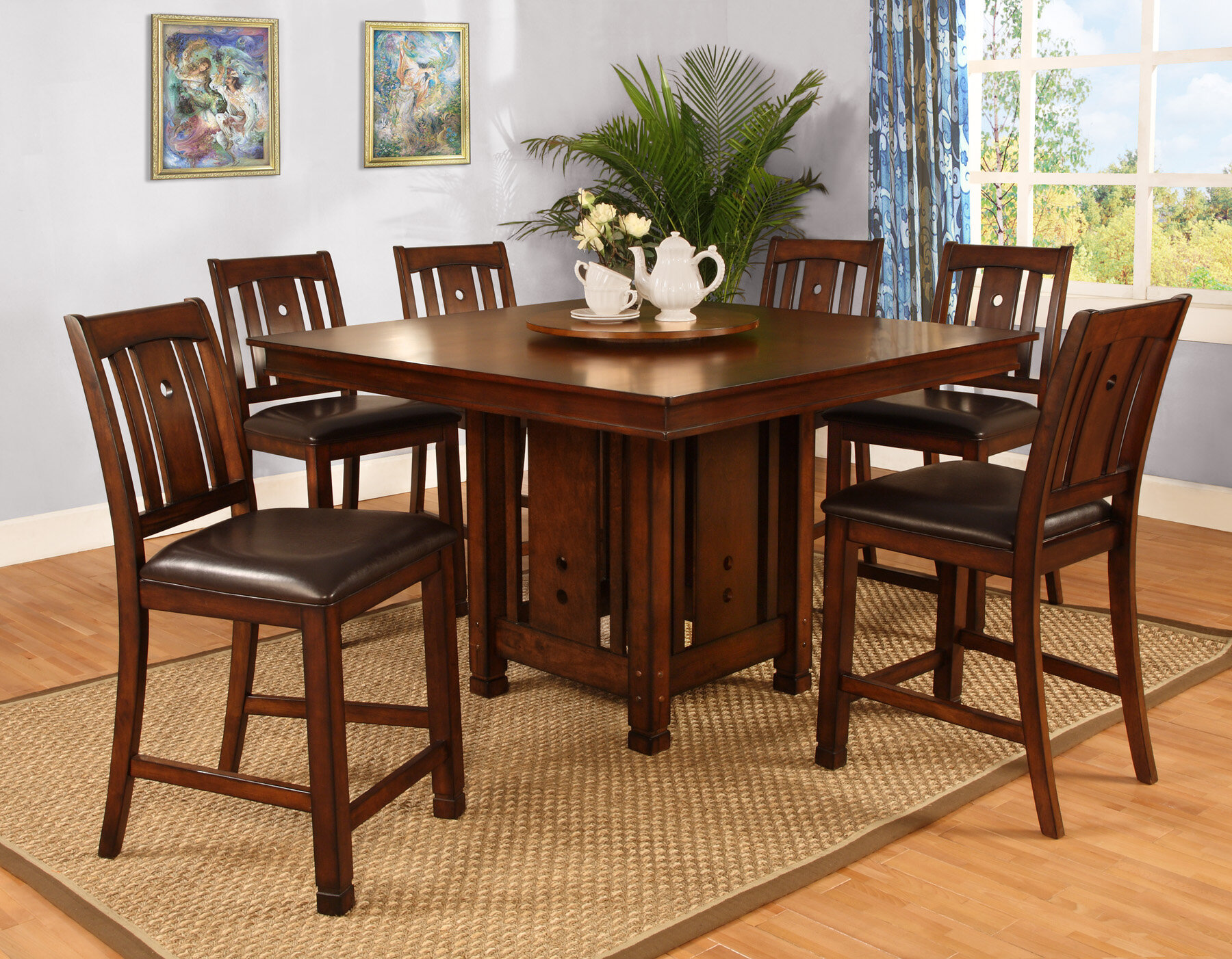 Best quality furniture 7 piece counter height dining set for Best quality dining tables