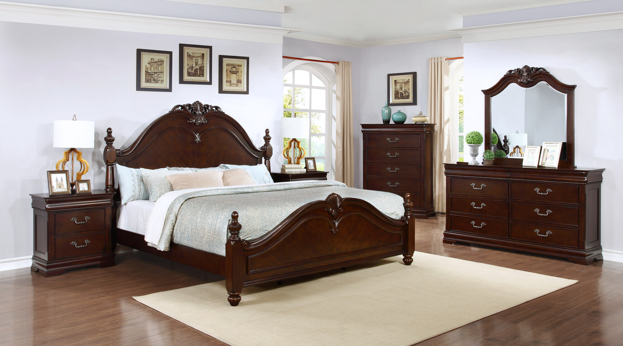 Best quality furniture panel 4 piece bedroom set ebay for Best place for bedroom furniture
