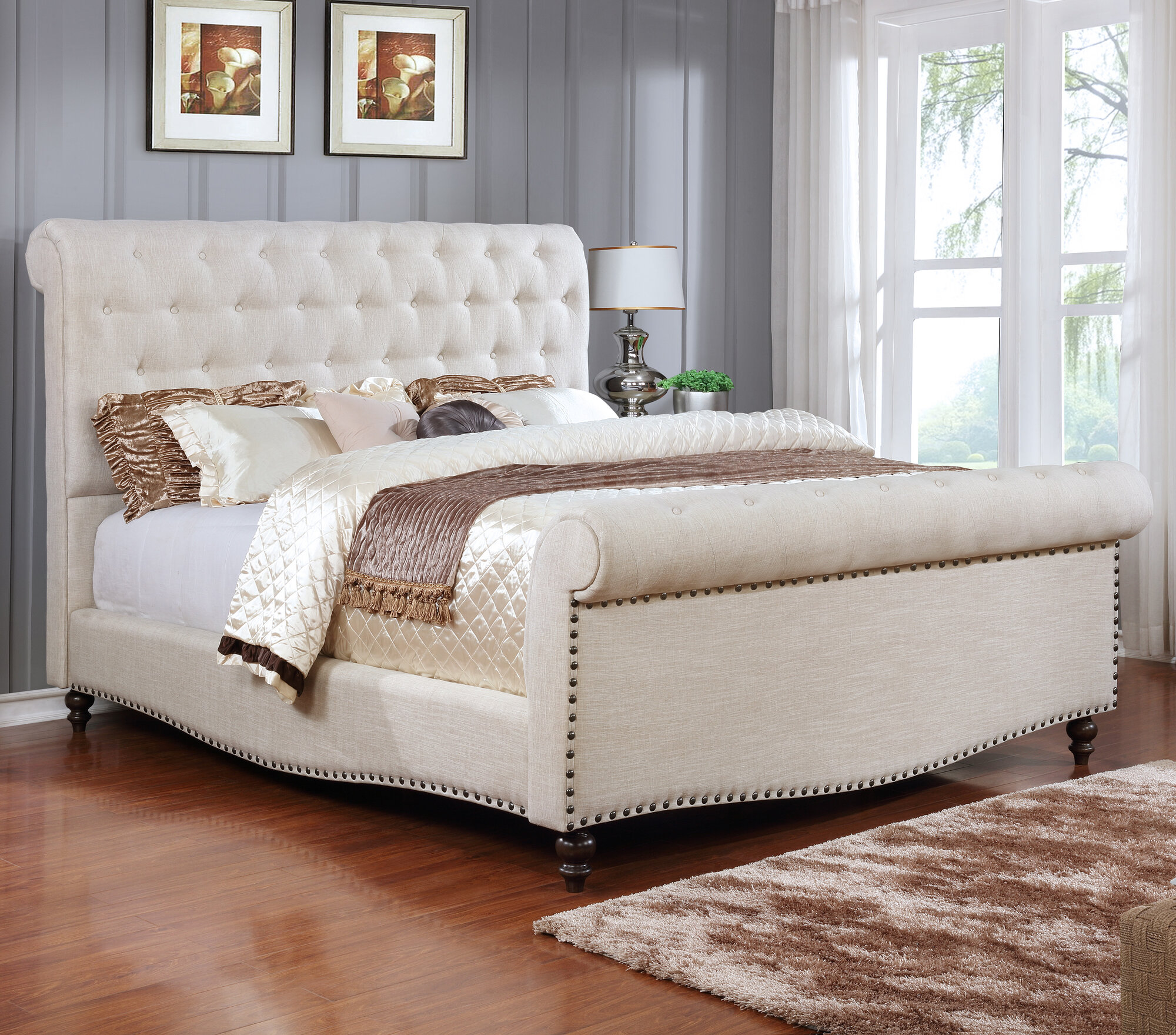 Best quality furniture upholstered sleigh bed ebay for Best quality upholstered furniture