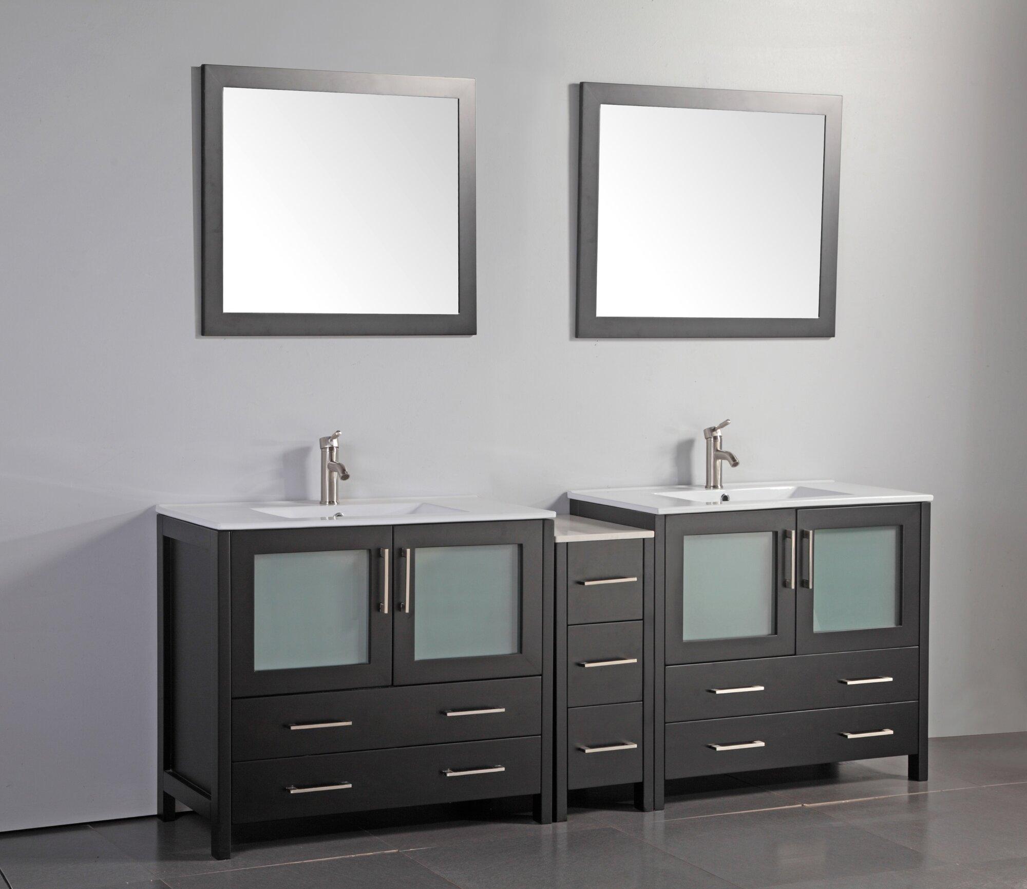 "Vanity Art 84"" Double Bathroom Vanity Set With Mirror"