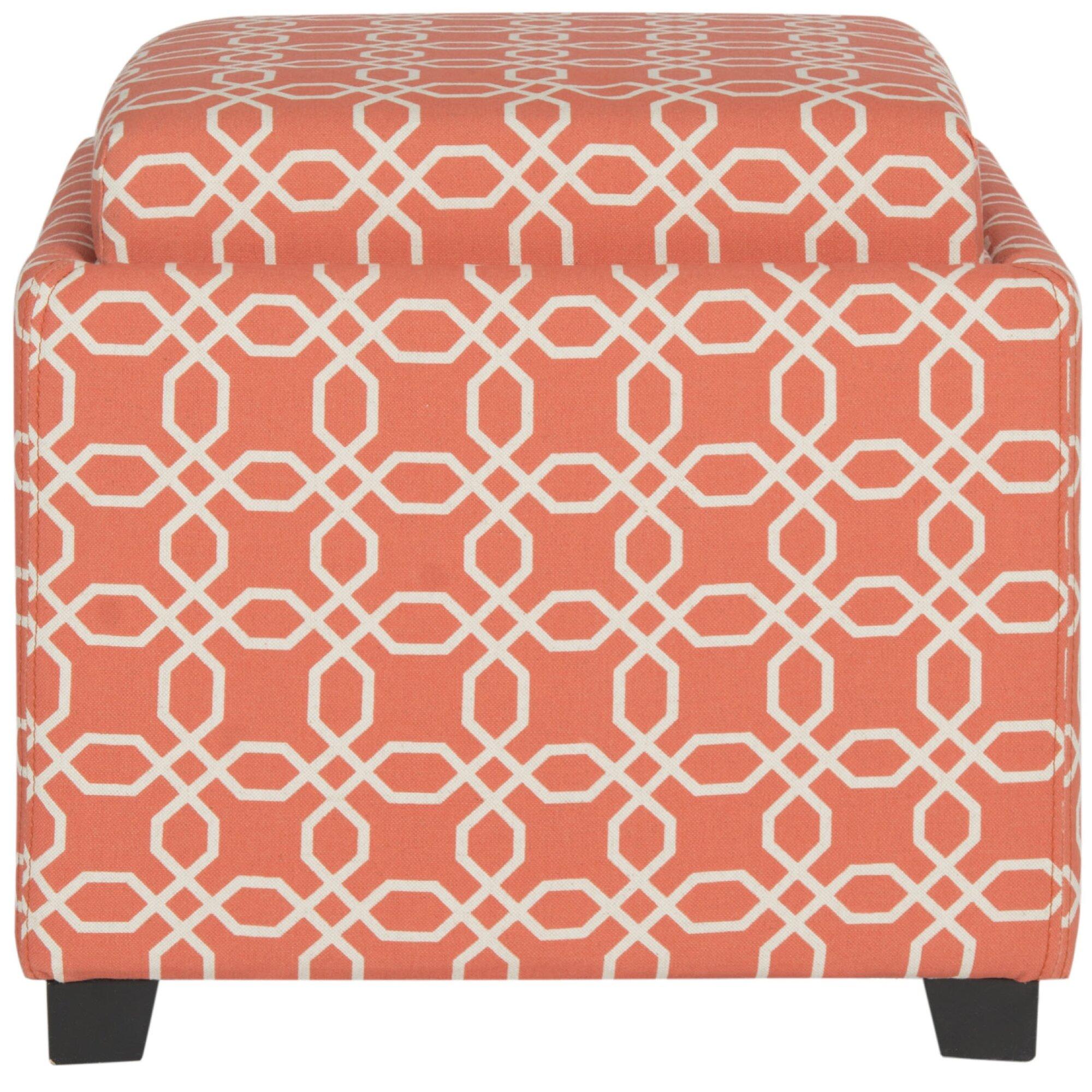 Safavieh Carter Upholstered Ottoman Color: Orange / White