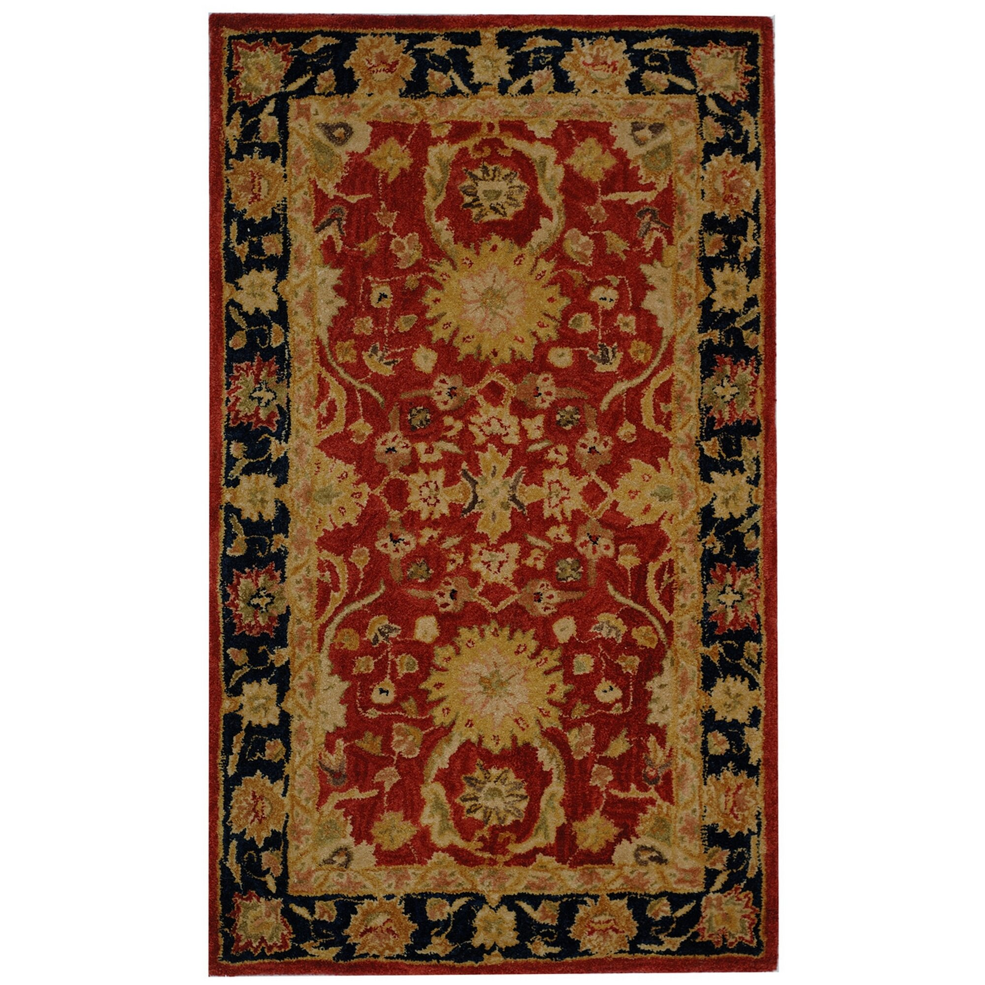 New Brand Devlin Persian Rug Handmade 100 Wool Area Rugs: Safavieh Anatolia Red/Navy Area Rug