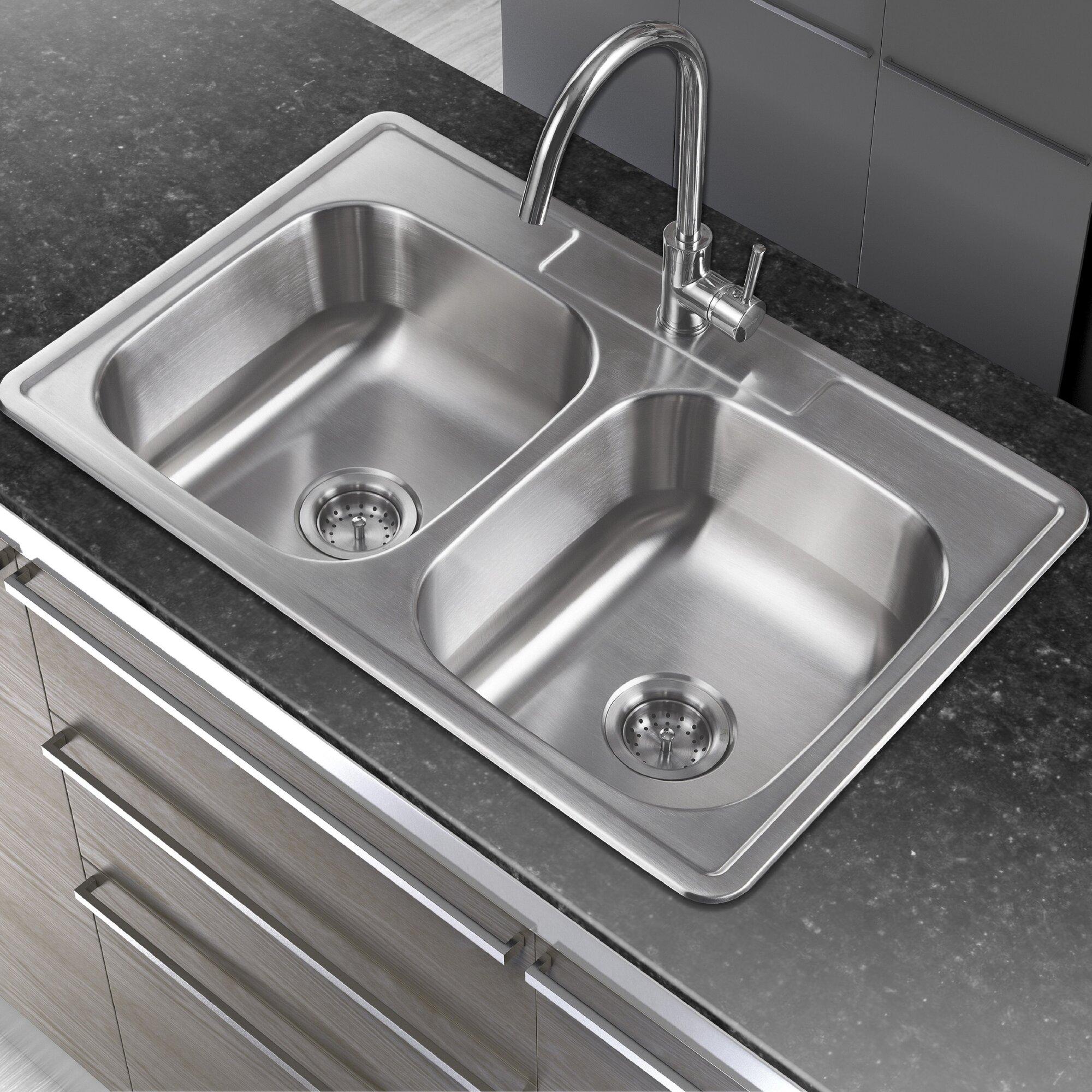 """Winpro 33"""" X 22"""" Double Basin Drop-In Kitchen Sink"""