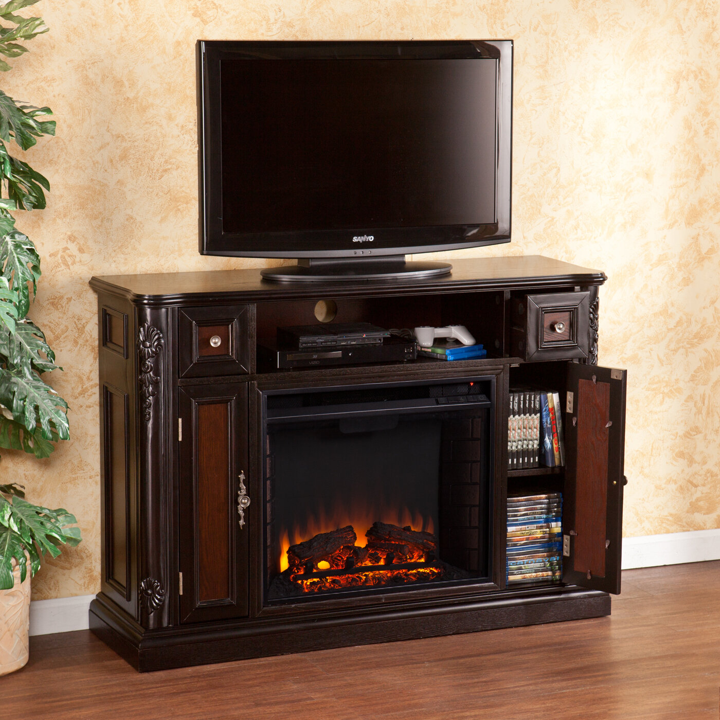 Wildon Home Gibbs 48 Tv Stand With Electric Fireplace Ebay