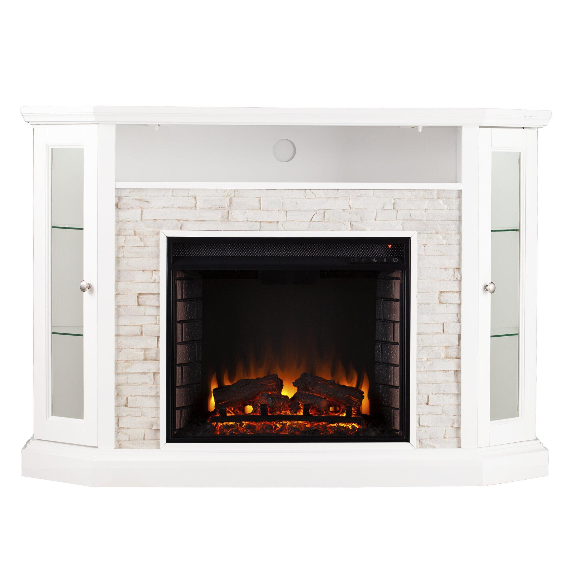 Wildon Home Rupert Faux Stone Corner Convertible Electric Fireplace Ebay