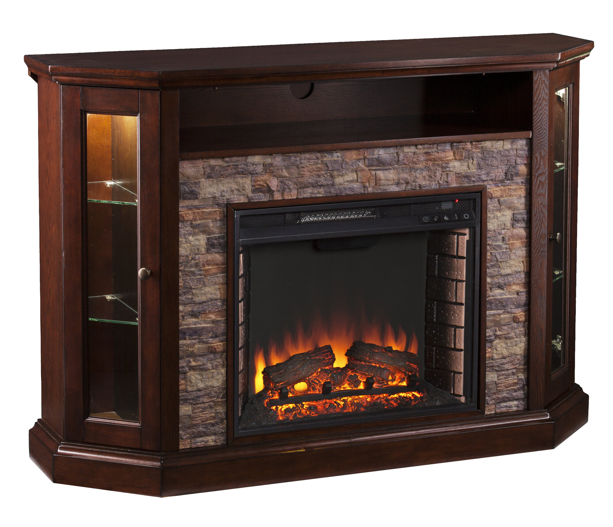 Wildon Home Rupert Faux Stone Corner Convertible Electric Fireplace Ebay