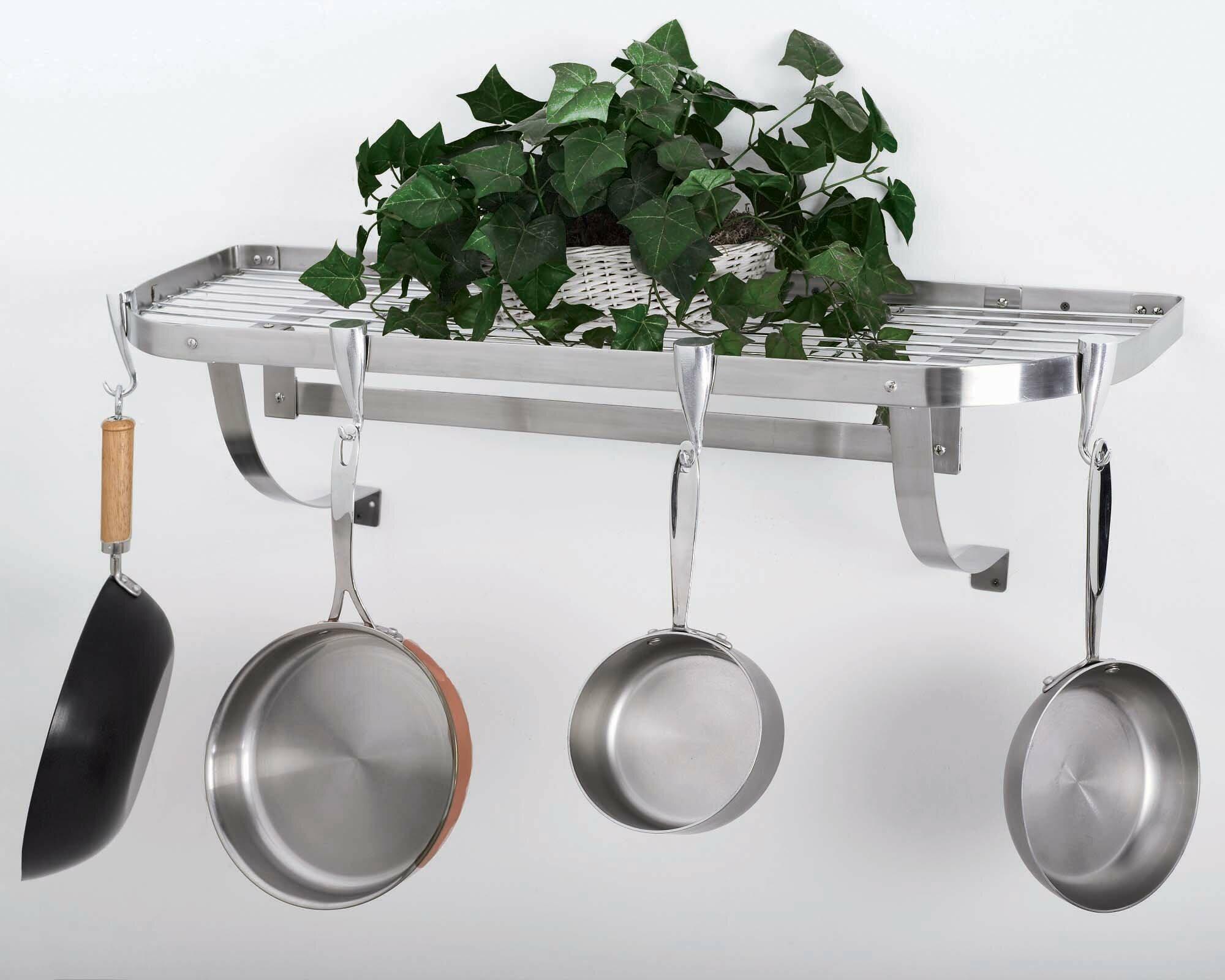 concept housewares stainless steel wall mounted pot rack ebay. Black Bedroom Furniture Sets. Home Design Ideas
