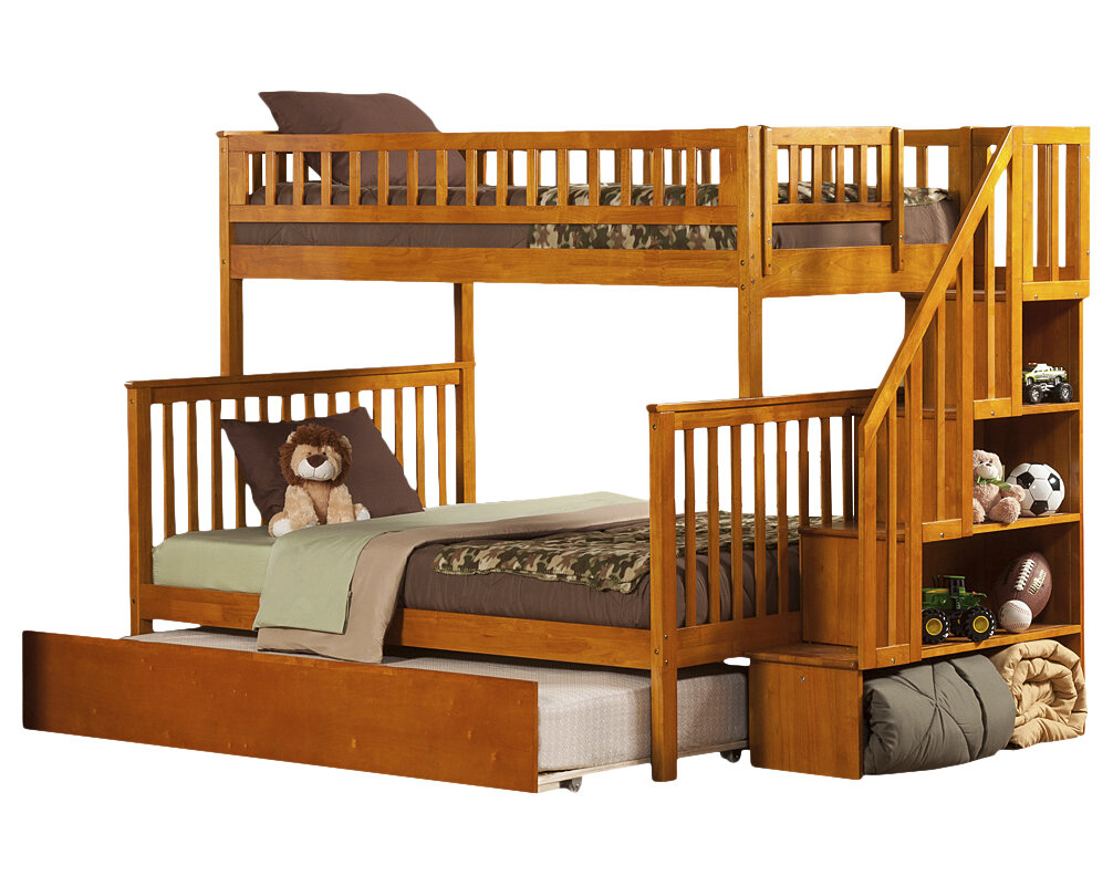 atlantic furniture woodland twin over full bunk bed with trundle and stairs ebay. Black Bedroom Furniture Sets. Home Design Ideas