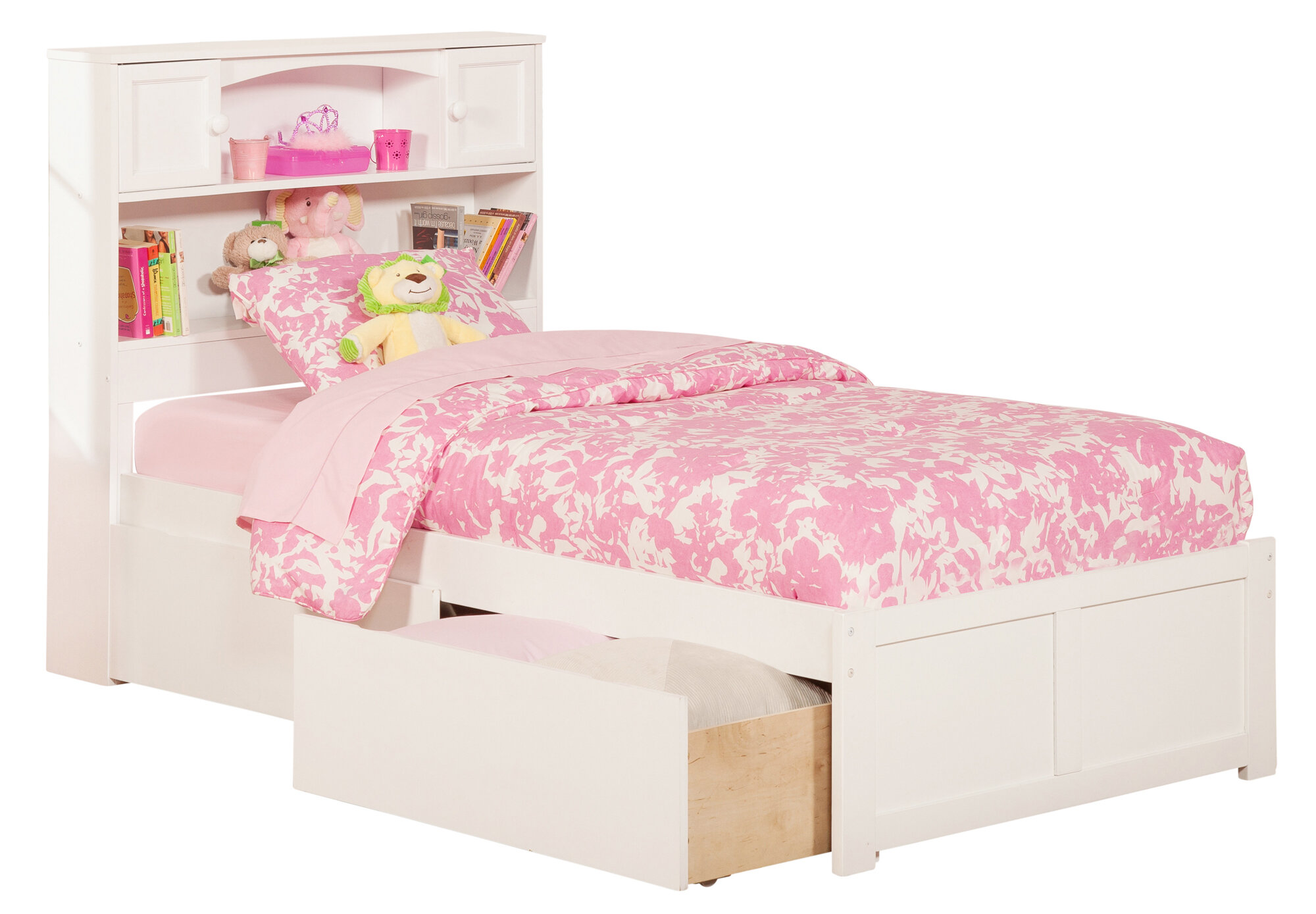 Atlantic furniture newport extra long twin platform bed with storage ebay - Extra long twin bed frame with storage ...