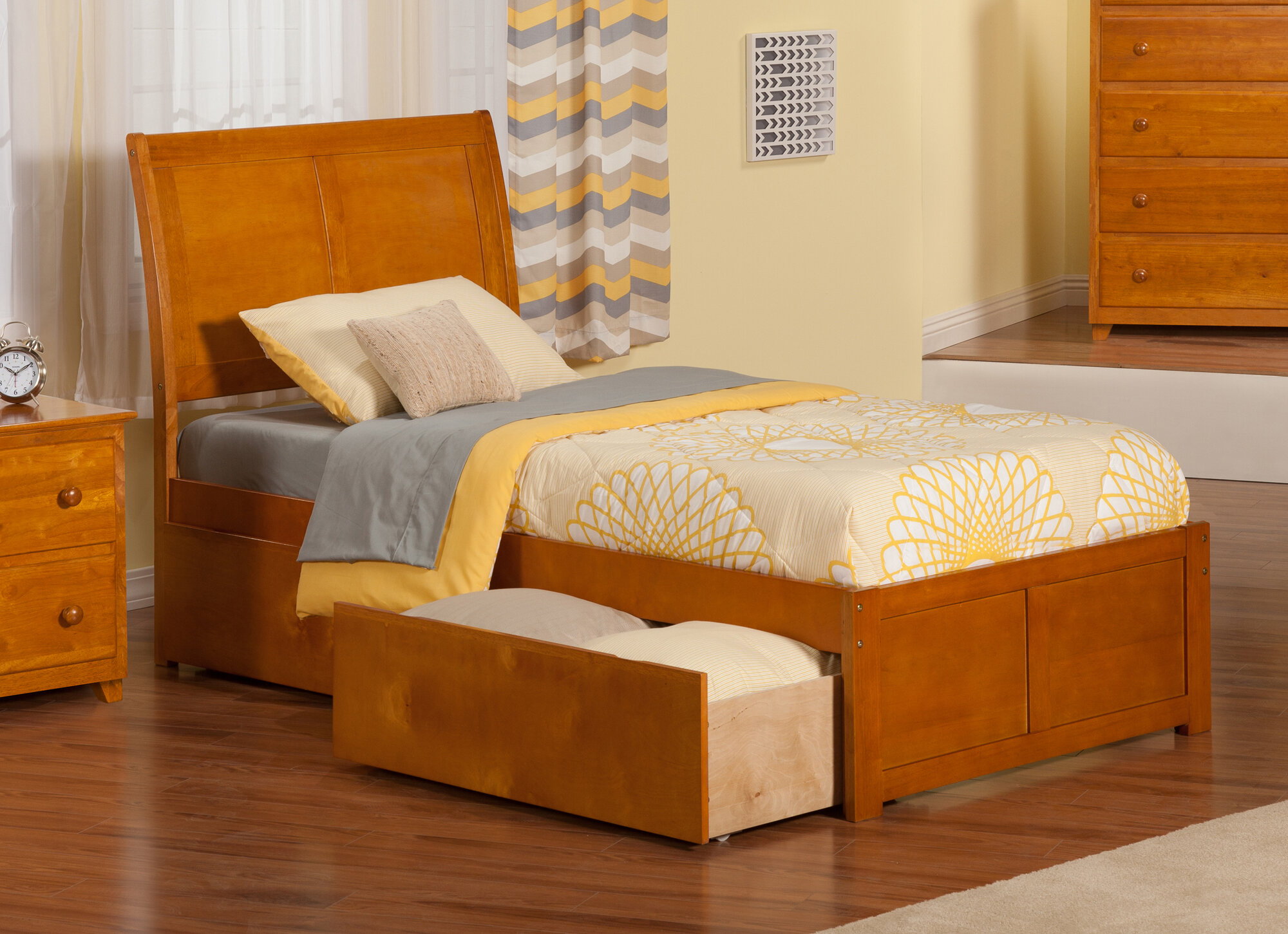 Atlantic Furniture Portland Extra Long Twin Sleigh Bed With Storage Ebay