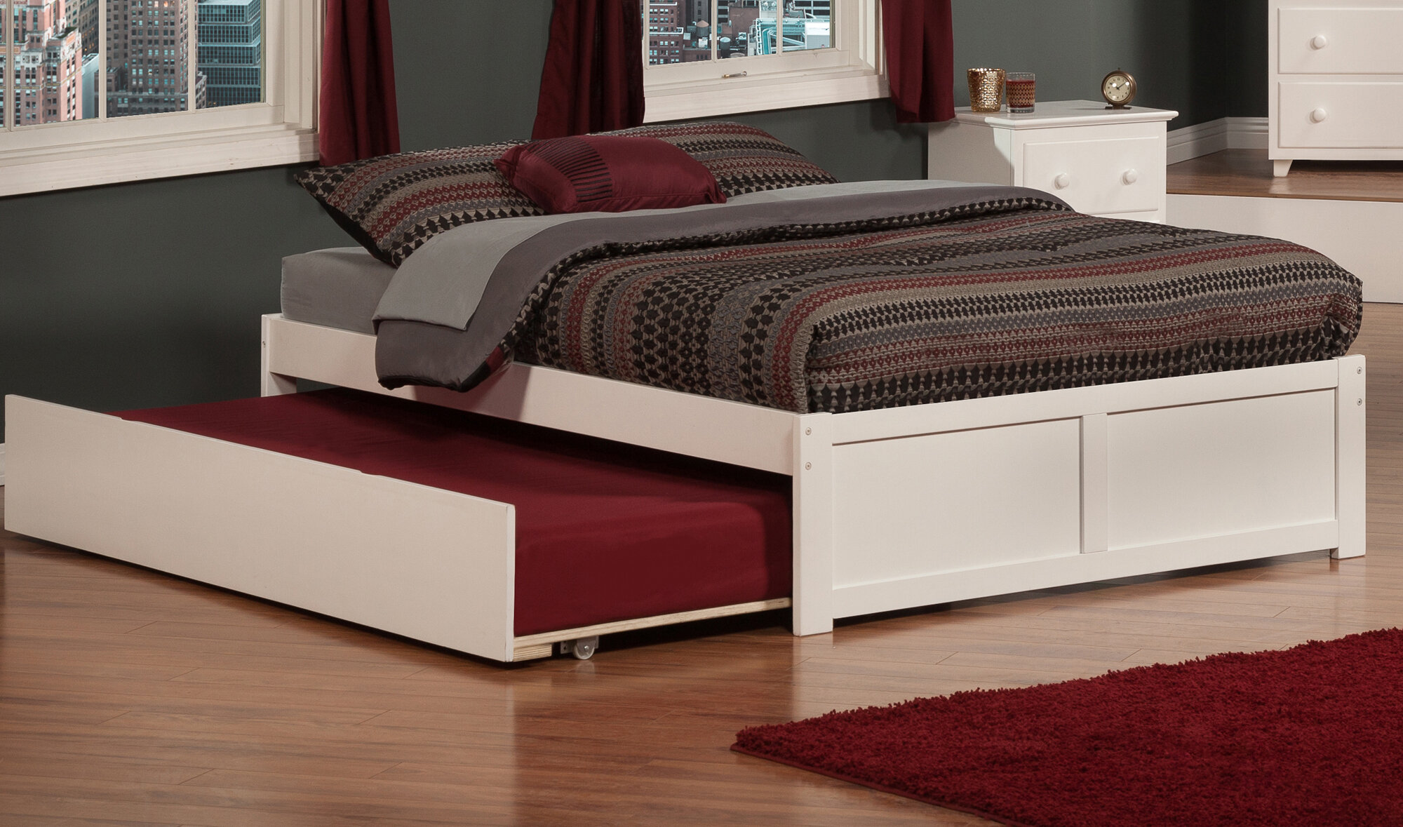 Atlantic furniture urban lifestyle concord bed with for Beds with trundle