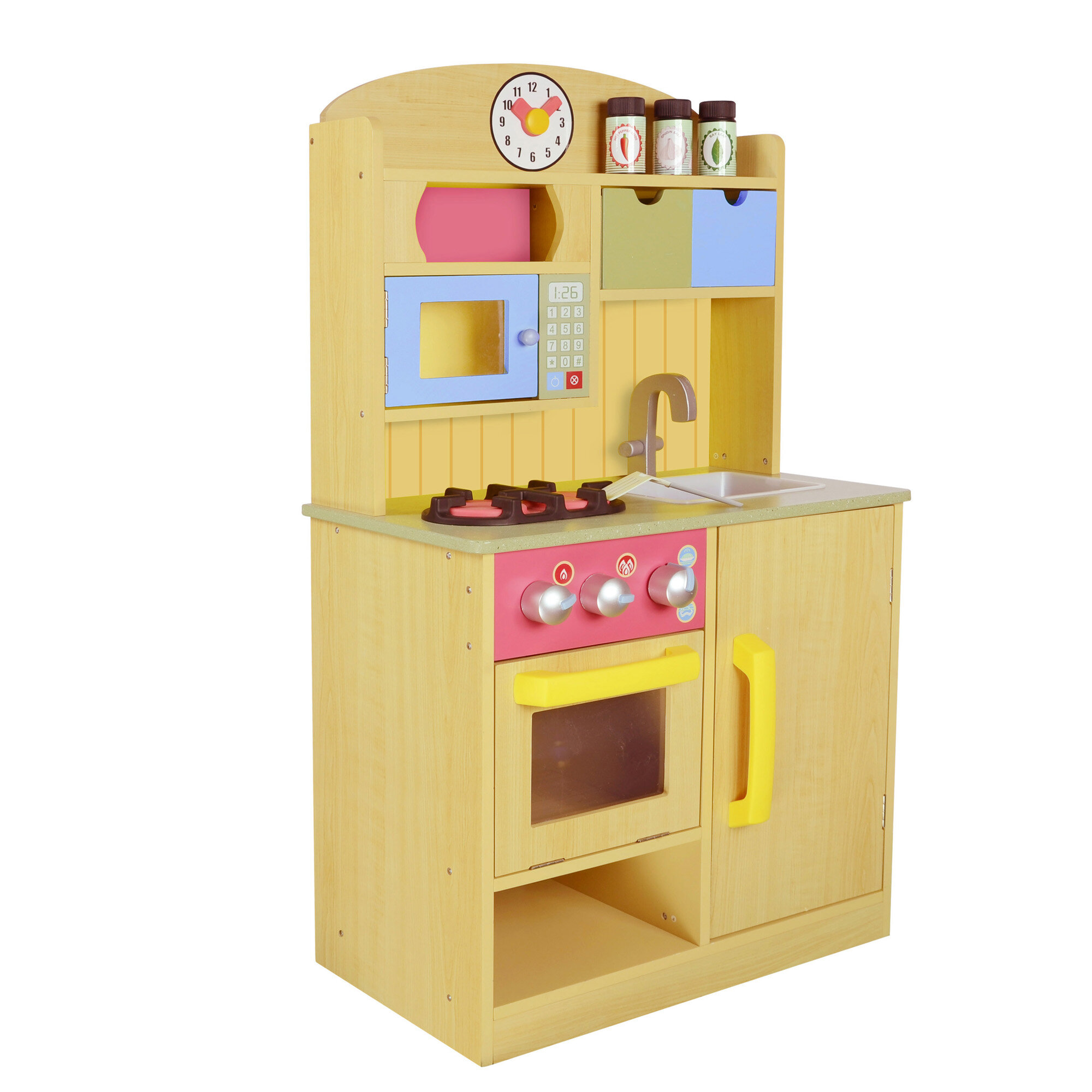 about teamson kids little chef wooden play kitchen with accessories