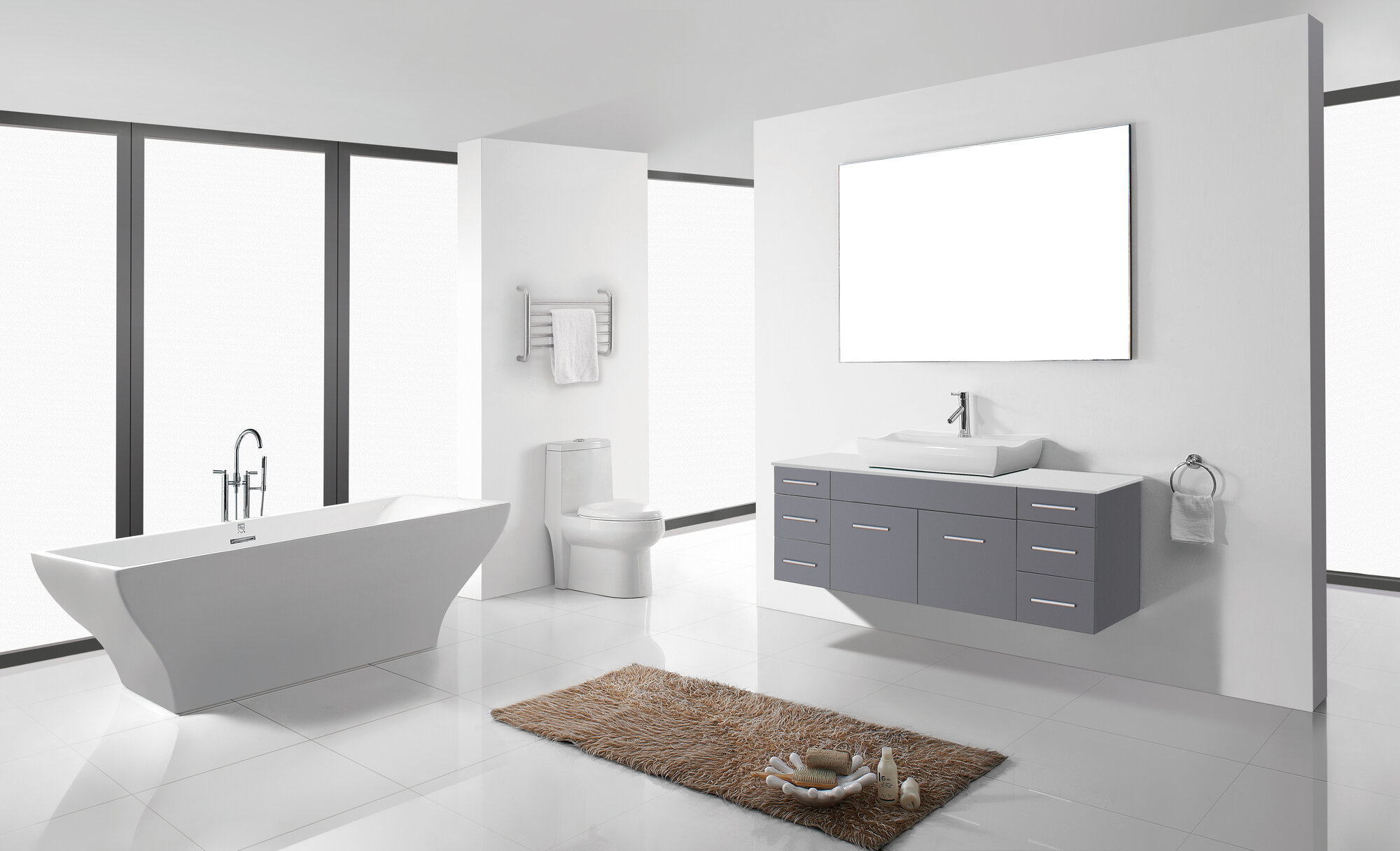 Brilliant Ultra Modern Series 36quot Single Bathroom Vanity Set With Mirror By