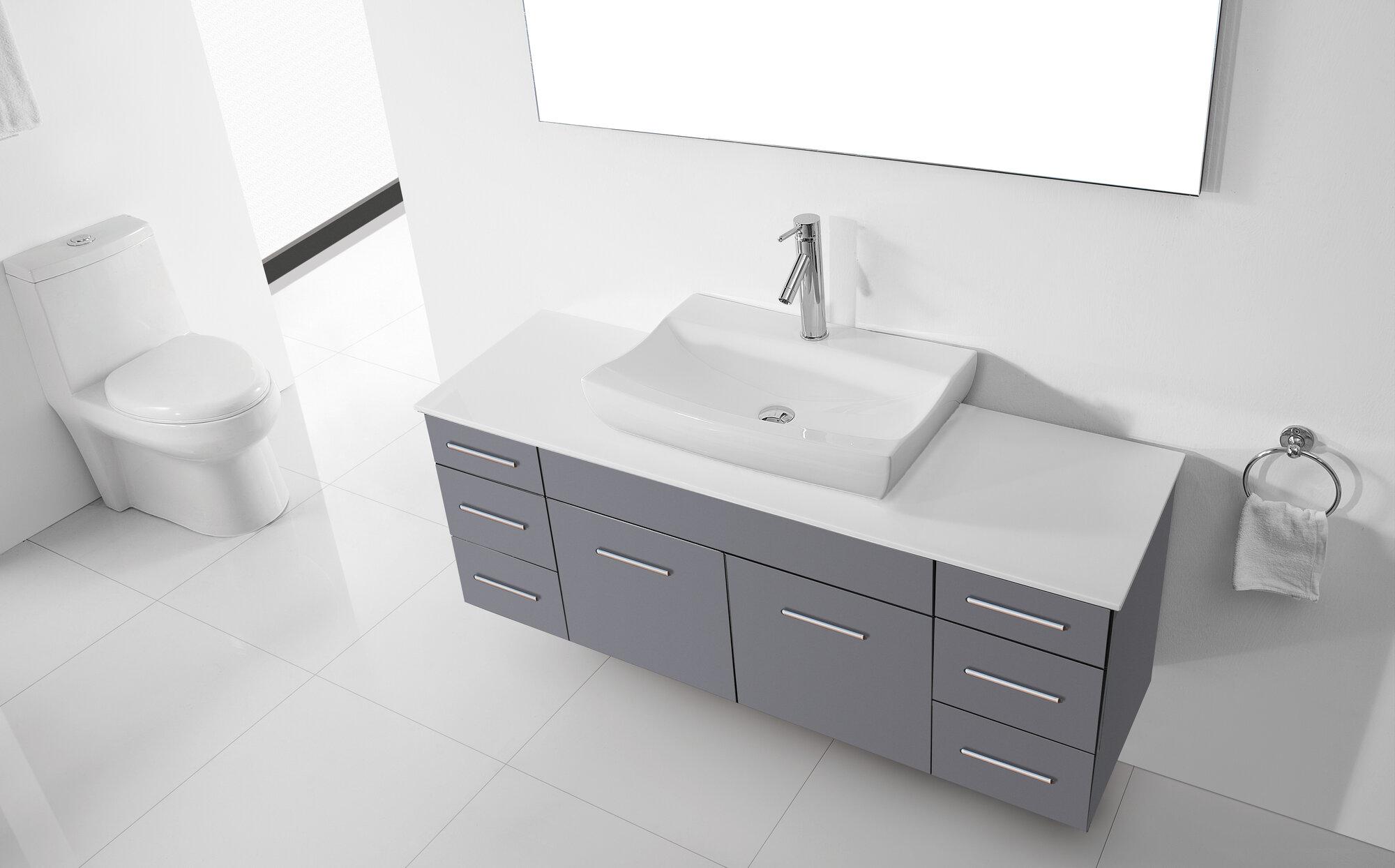 Virtu ultra modern series 56 single bathroom vanity set with mirror ebay for Ultra bathroom vanities burbank
