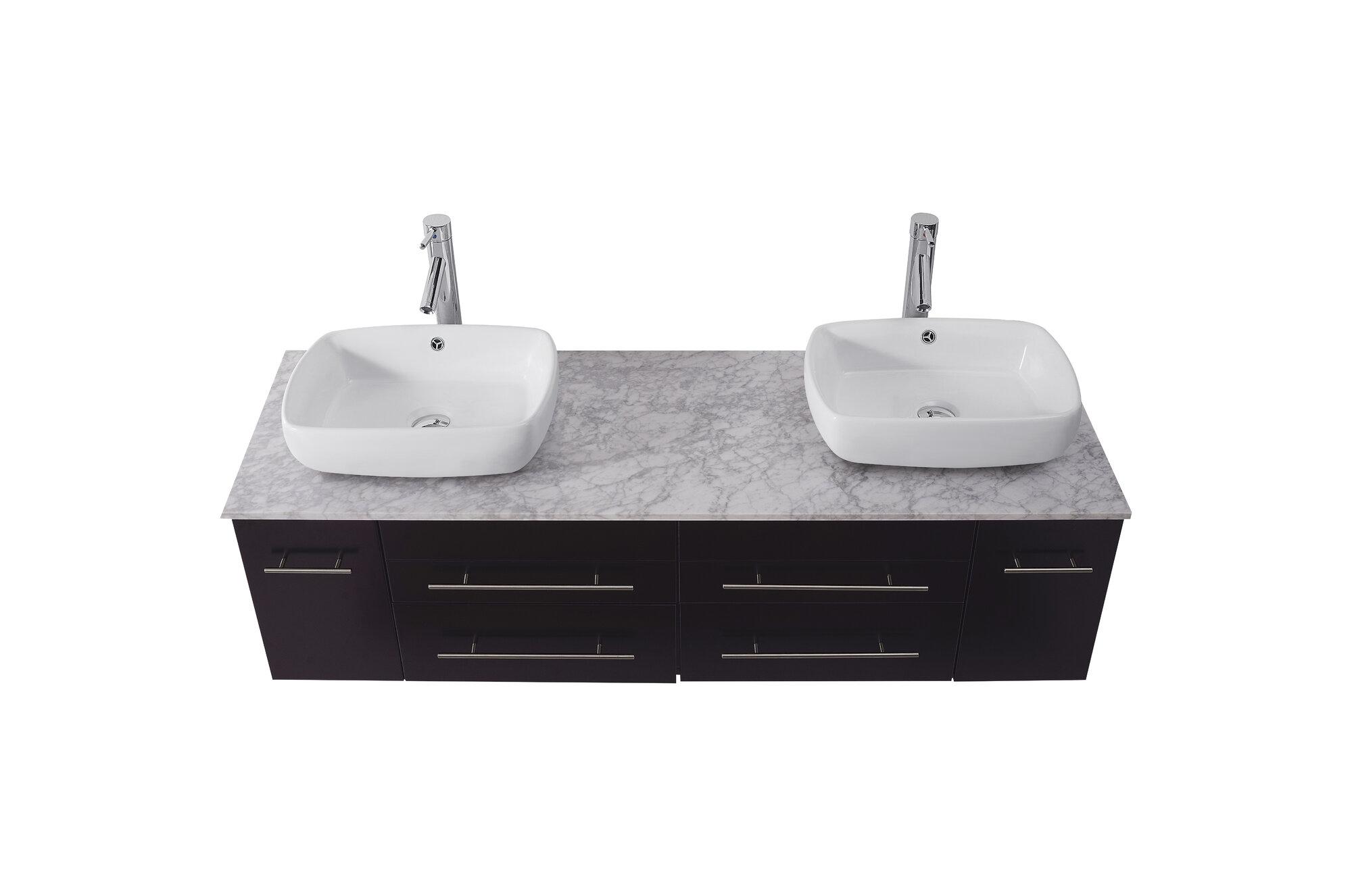 Virtu Ultra Modern Series 60 Double Bathroom Vanity Set