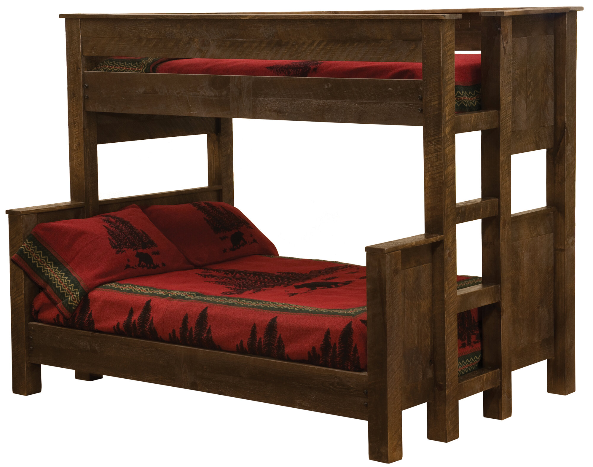Fireside Lodge Frontier Standard Bunk Bed with Left Ladder Finish: Driftwood, Configuration: Double over Double