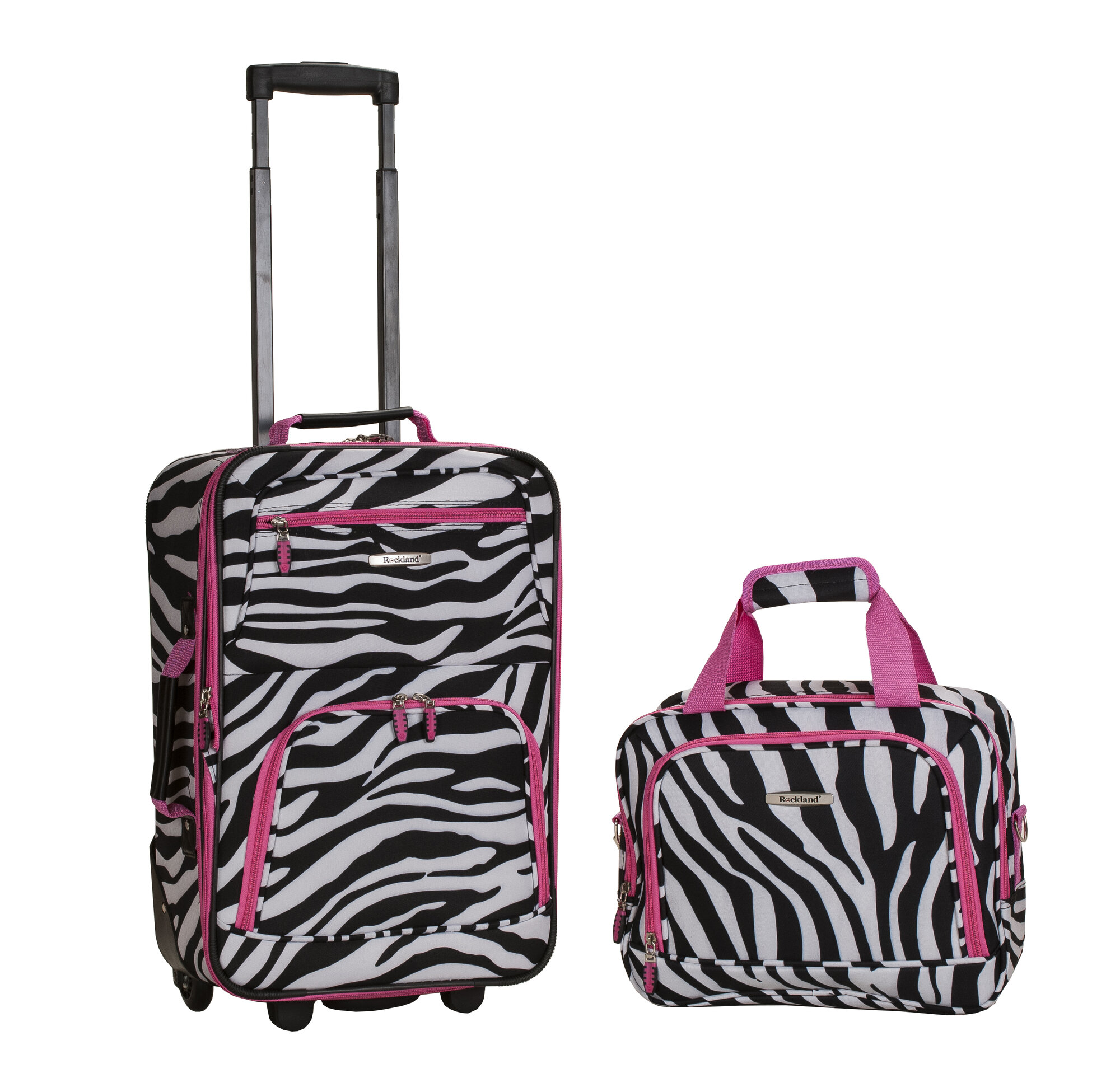 Rockland 2 Piece Carry on Luggage Set Pinkzebra | eBay