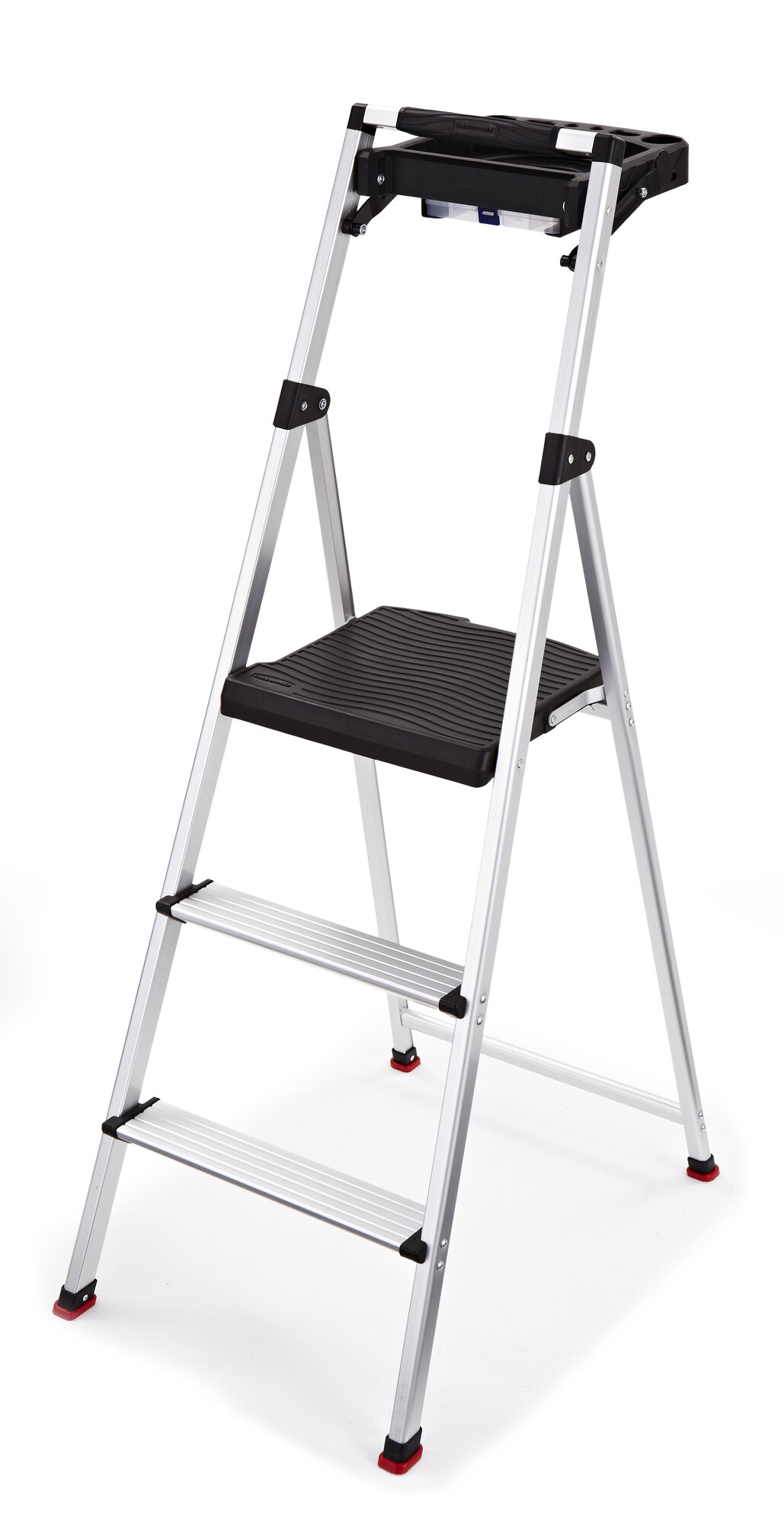 Rubbermaid 3 Step Aluminum Step Stool With 225 Lb Load
