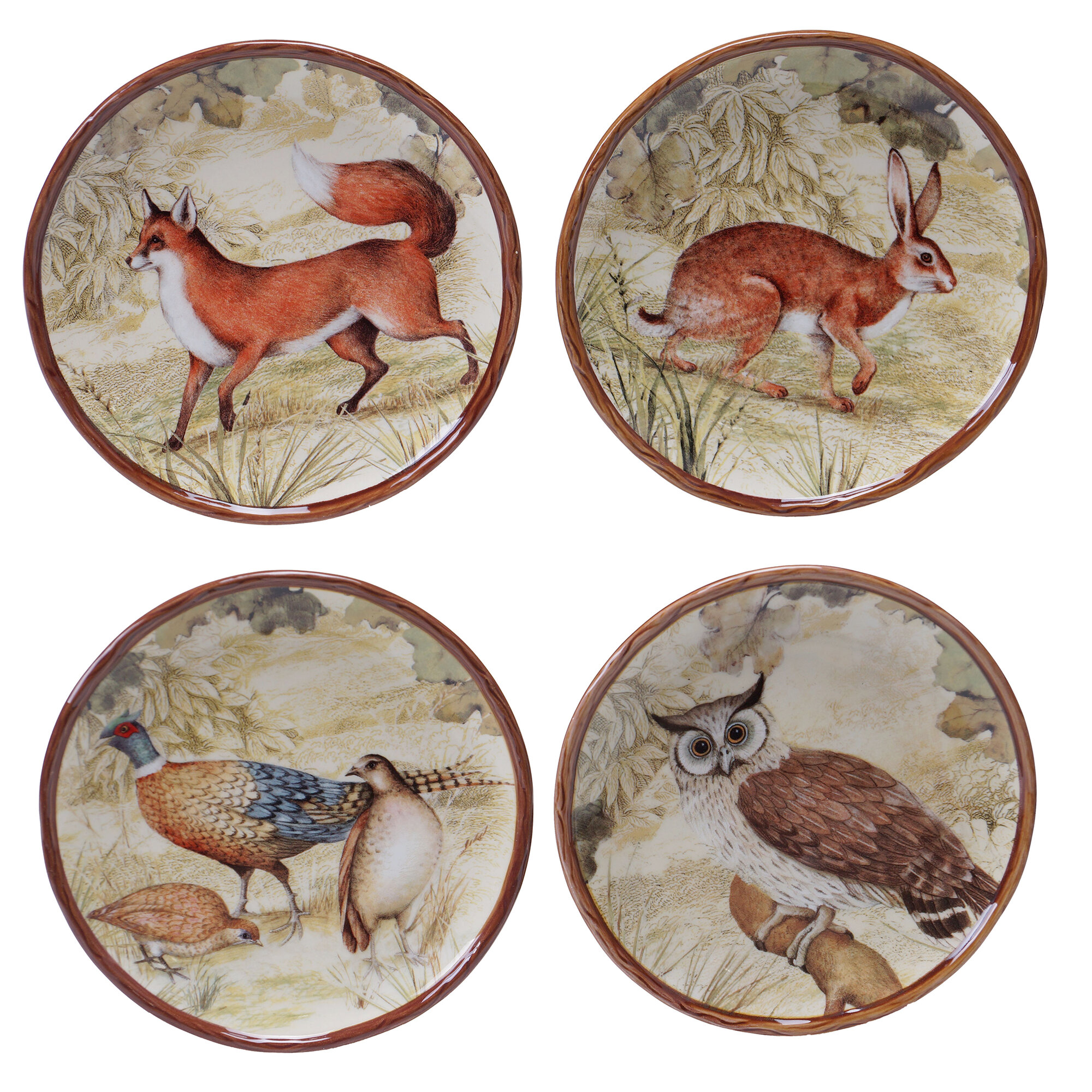 Certified international rustic nature 4 piece 6 canape for Canape plate sets