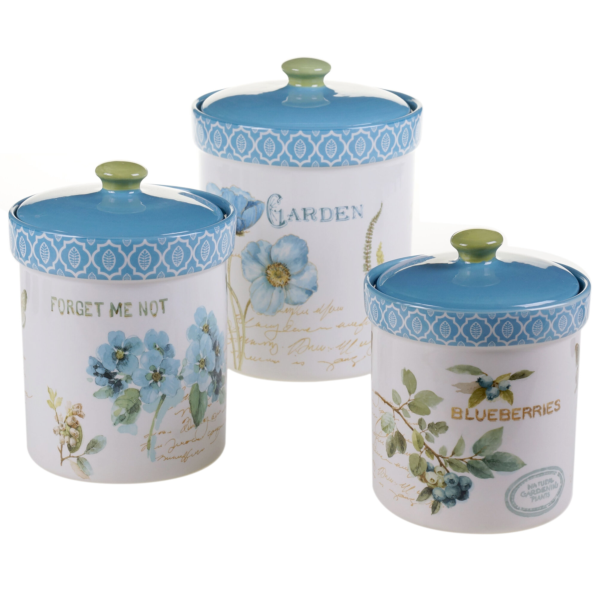 kitchen canister set certified international greenhouse 3 piece kitchen