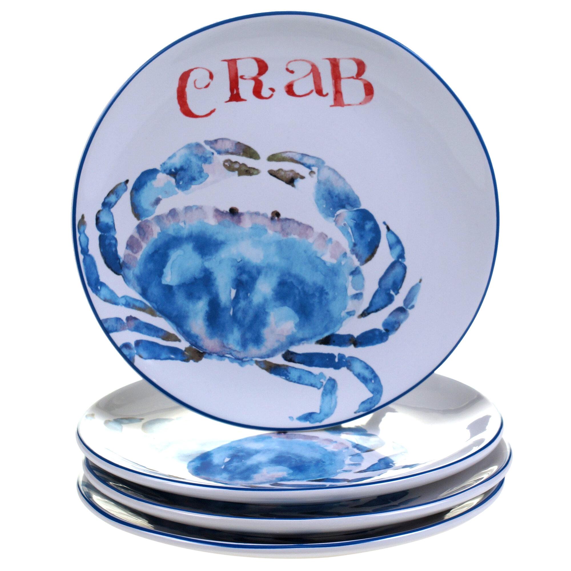 """Handmade Ceramic Platter In Coastal Kitchen: Certified International Beach House Kitchen 8.75"""" Crab"""