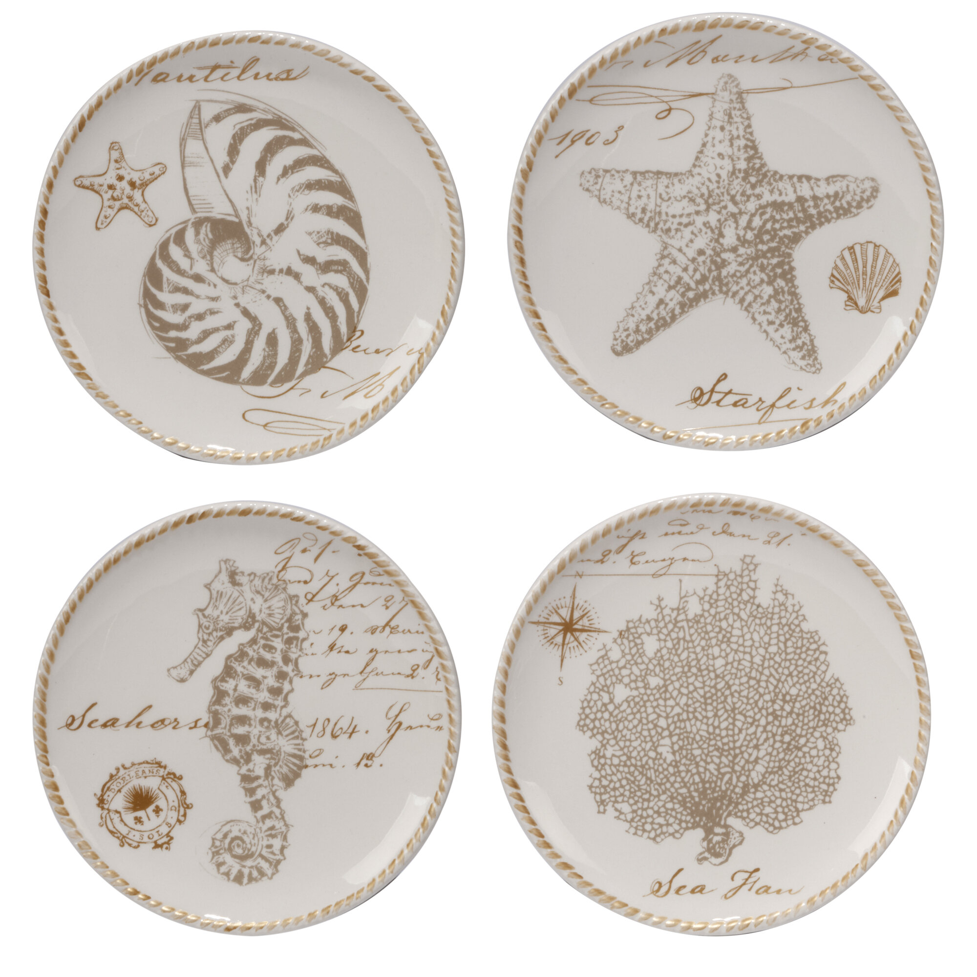 Certified international coastal discoveries 4 piece 6 for Canape plate sets