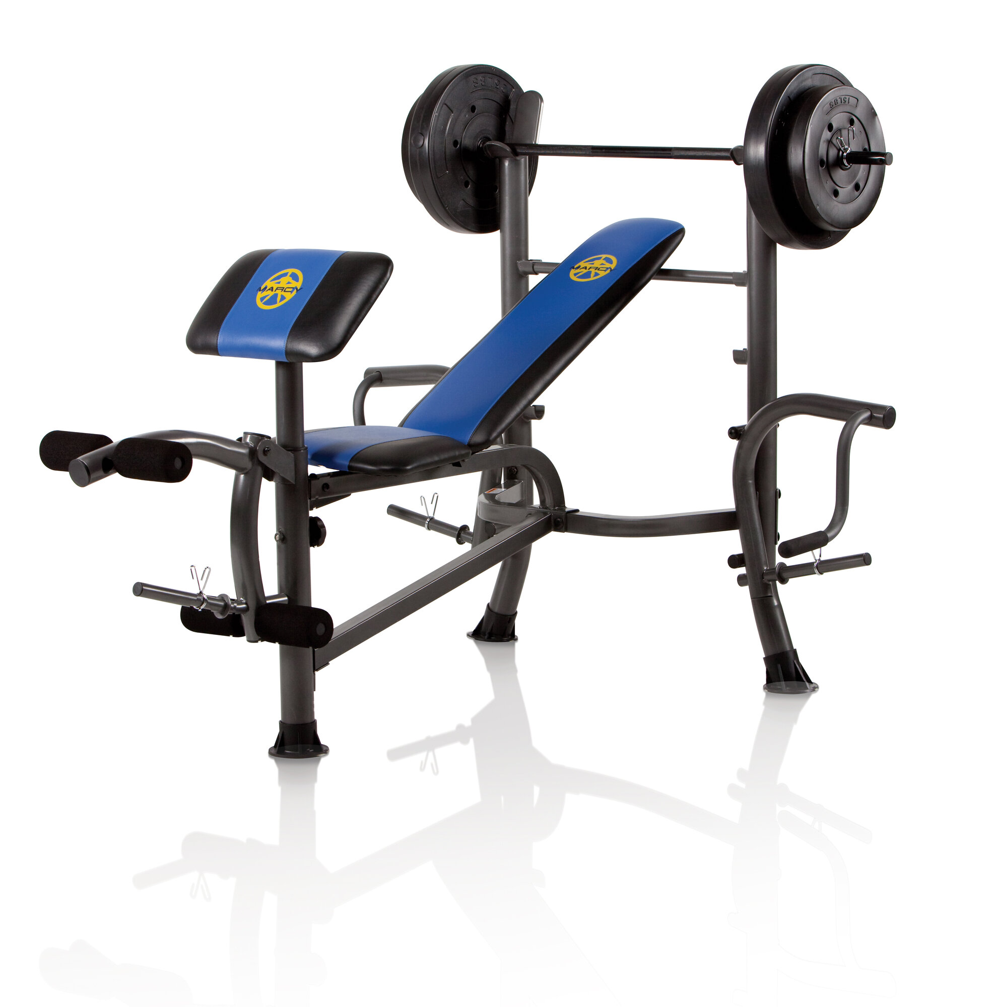 Marcy Standard Weight Adjustable Olympic Bench With 80 Lbs: bench weights