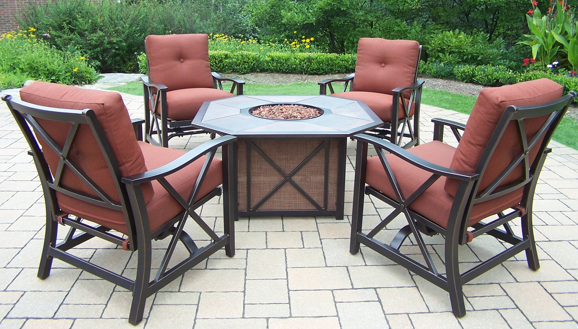 Oakland Living Haywood 5 Piece Fire Pit Seating Group With Cushions EBay