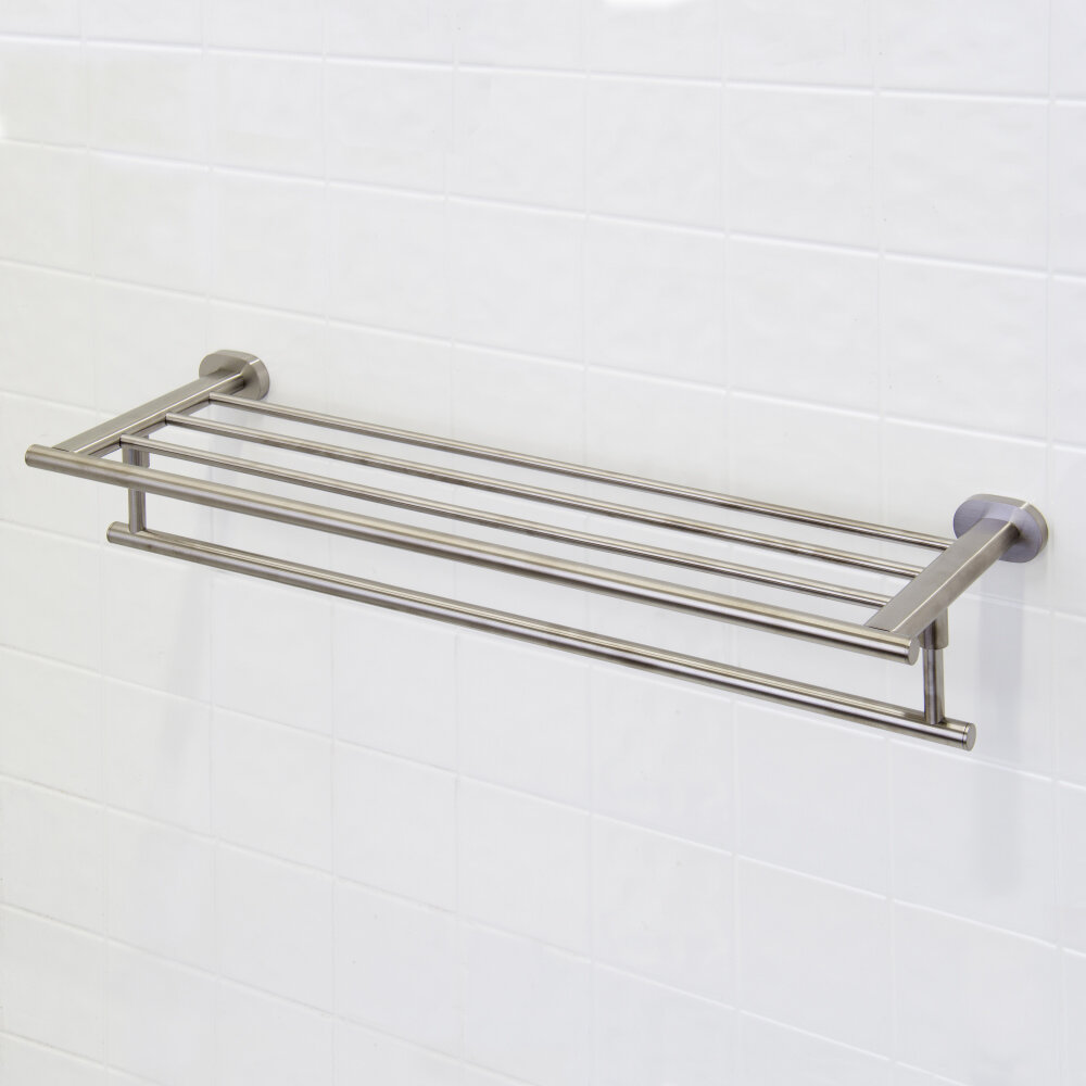 vigo ovando wall mounted towel rack brushed nickel ebay. Black Bedroom Furniture Sets. Home Design Ideas