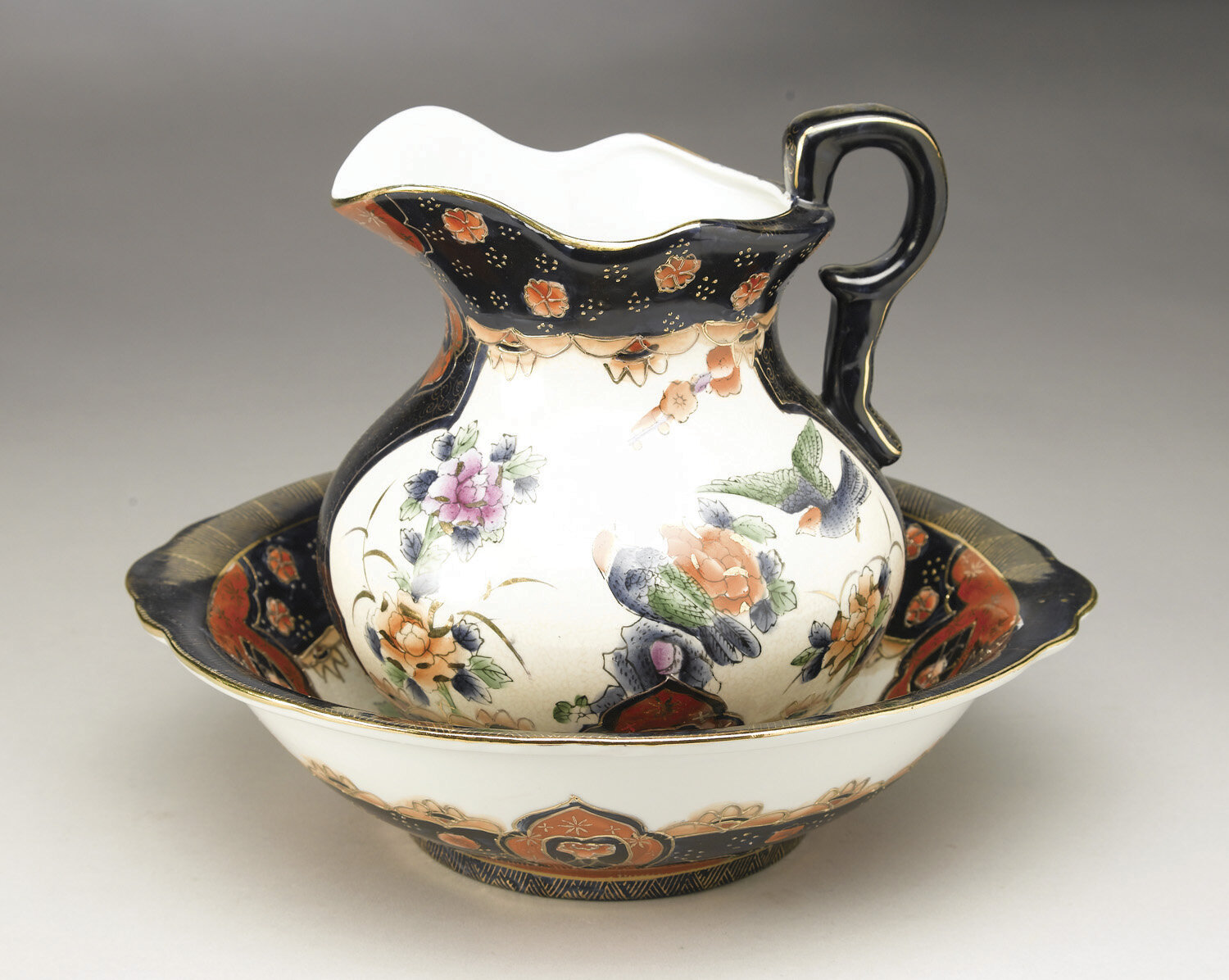 aa importing chinoiserie 2 piece bowl and pitcher set ebay. Black Bedroom Furniture Sets. Home Design Ideas