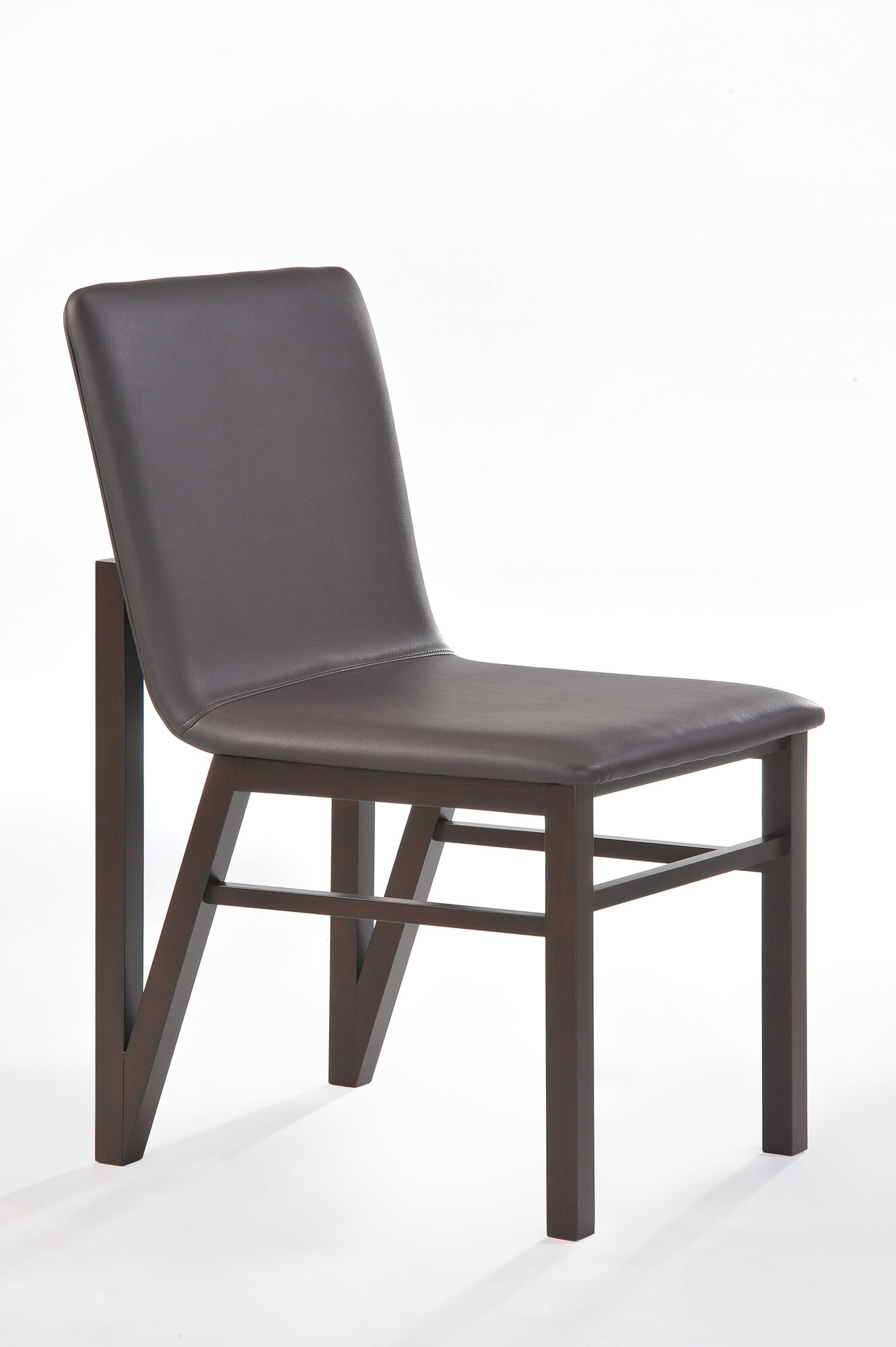 New spec inc cafe genuine leather upholstered dining chair for Genuine leather dining room chairs