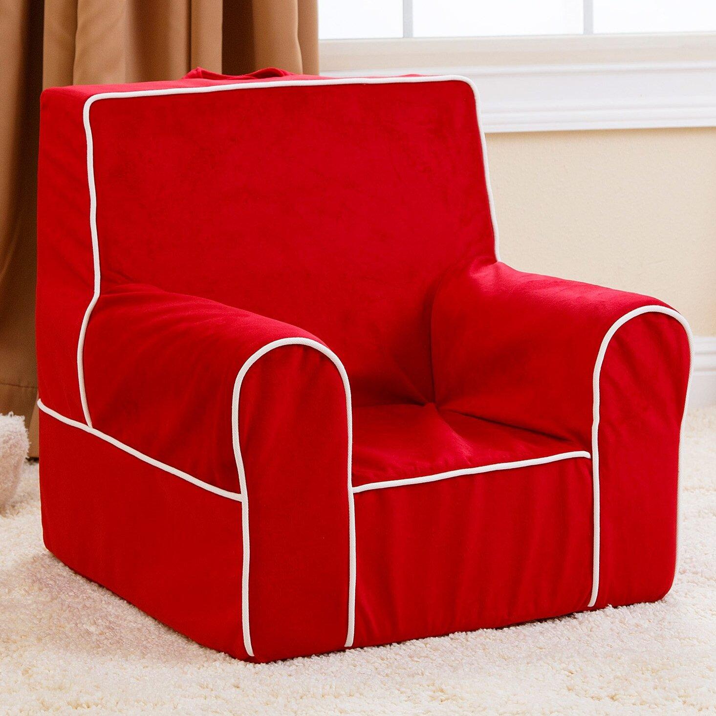 Abbyson Living Kids Velvet Arm Chair Color: Red