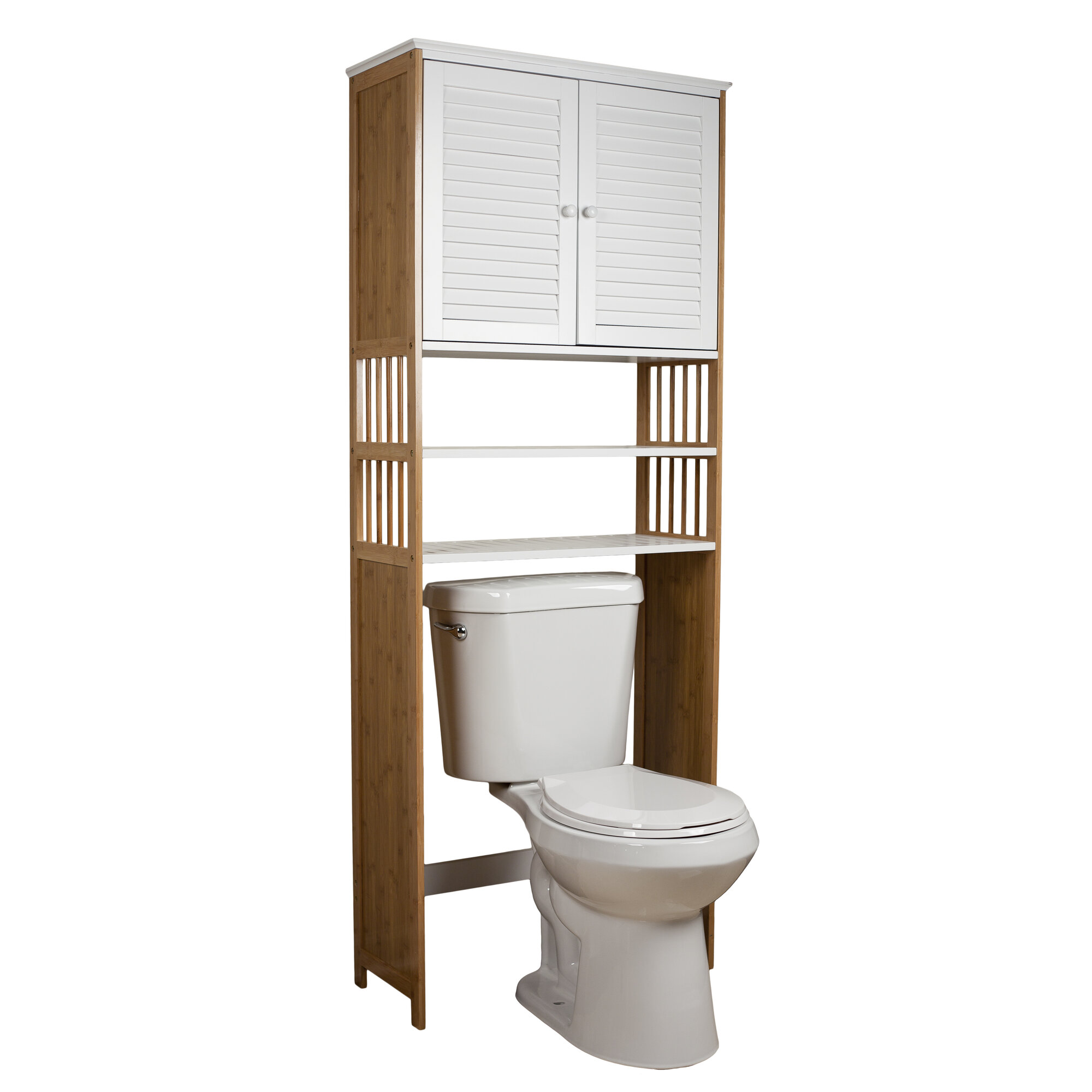 Danya b bamboo bathroom 27 x 71 over the toilet cabinet for Toilet furniture cabinet
