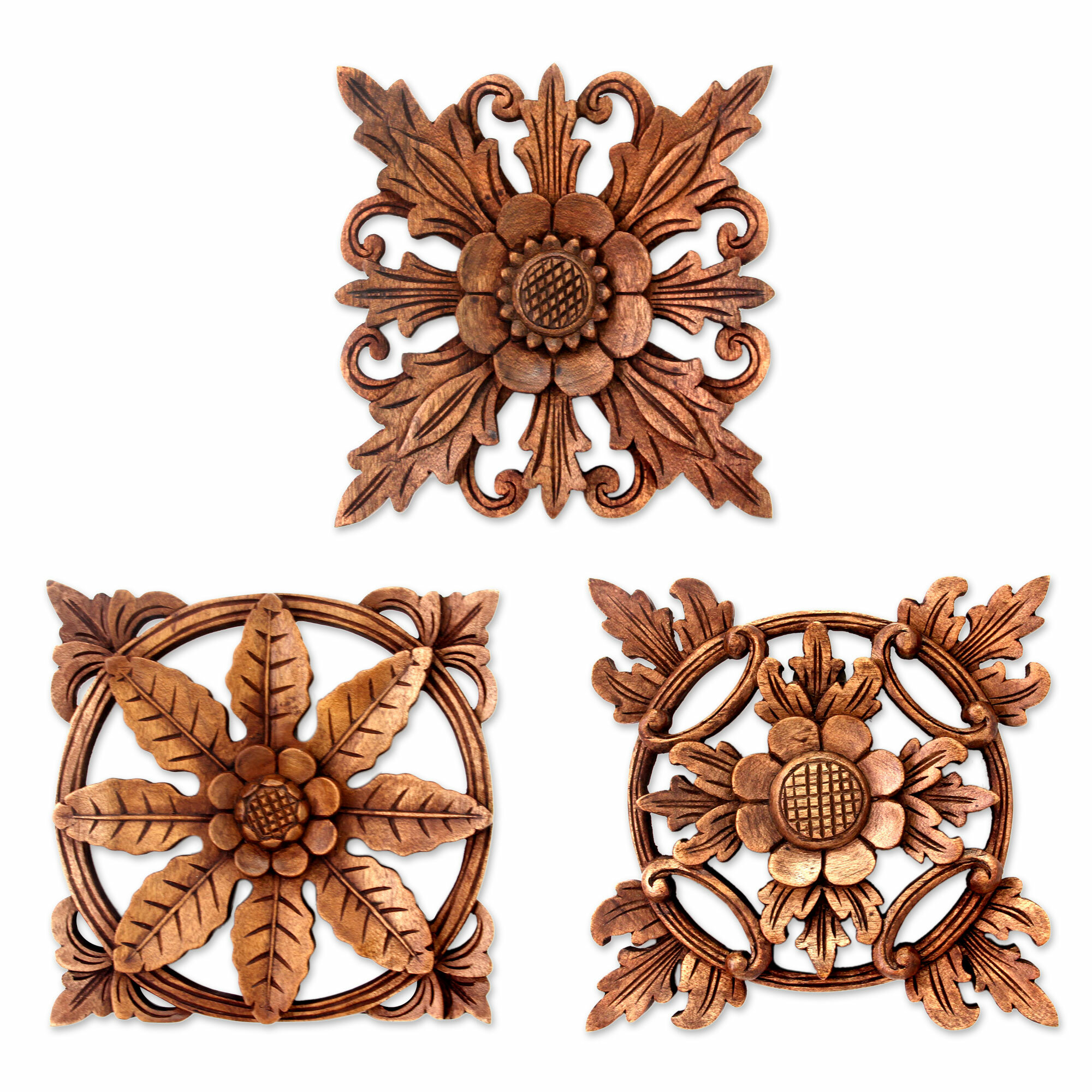 Novica 3 Piece Balinese Hand Carved Wood Floral Relief