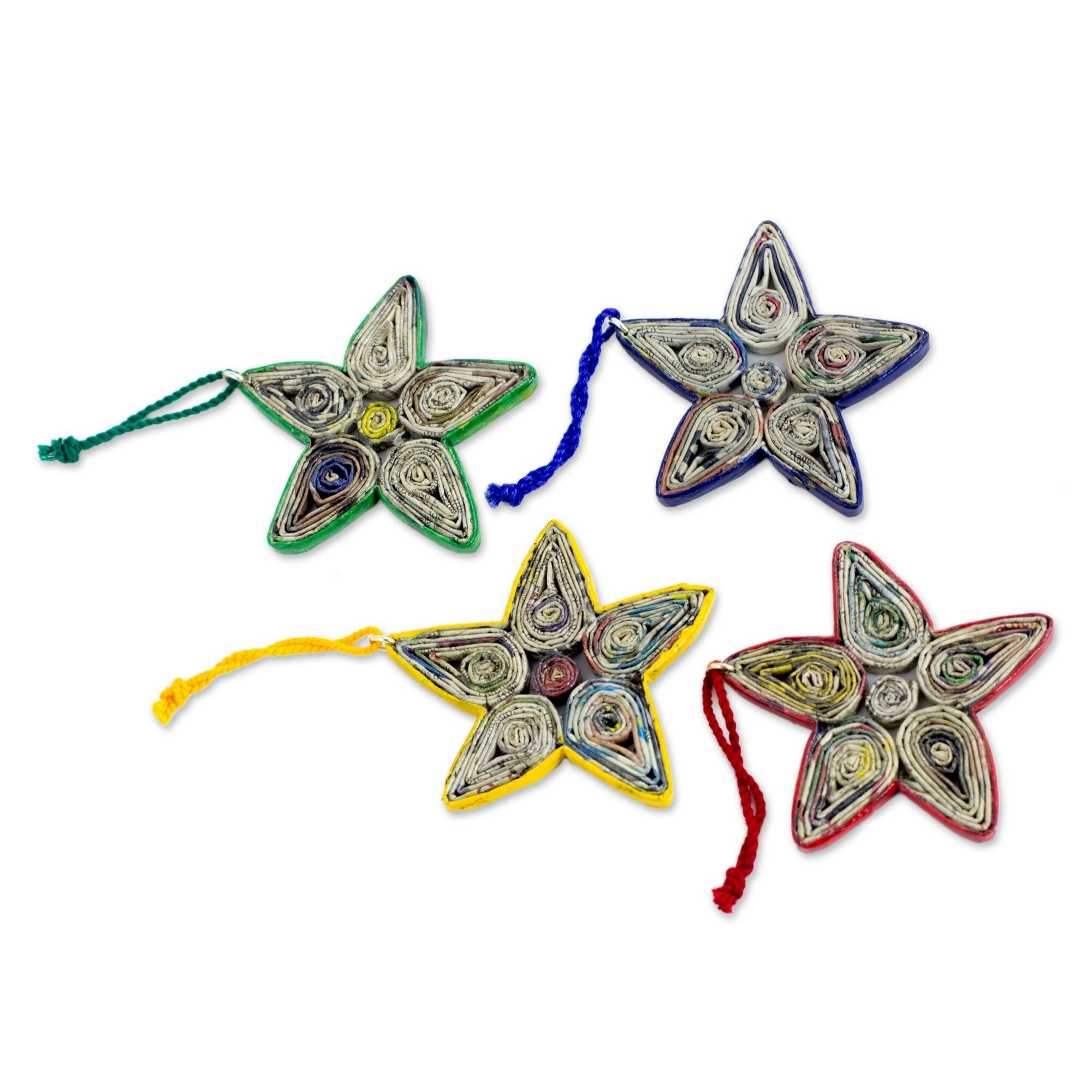 Novica Recycled Paper Christmas Ornament Set Of 4
