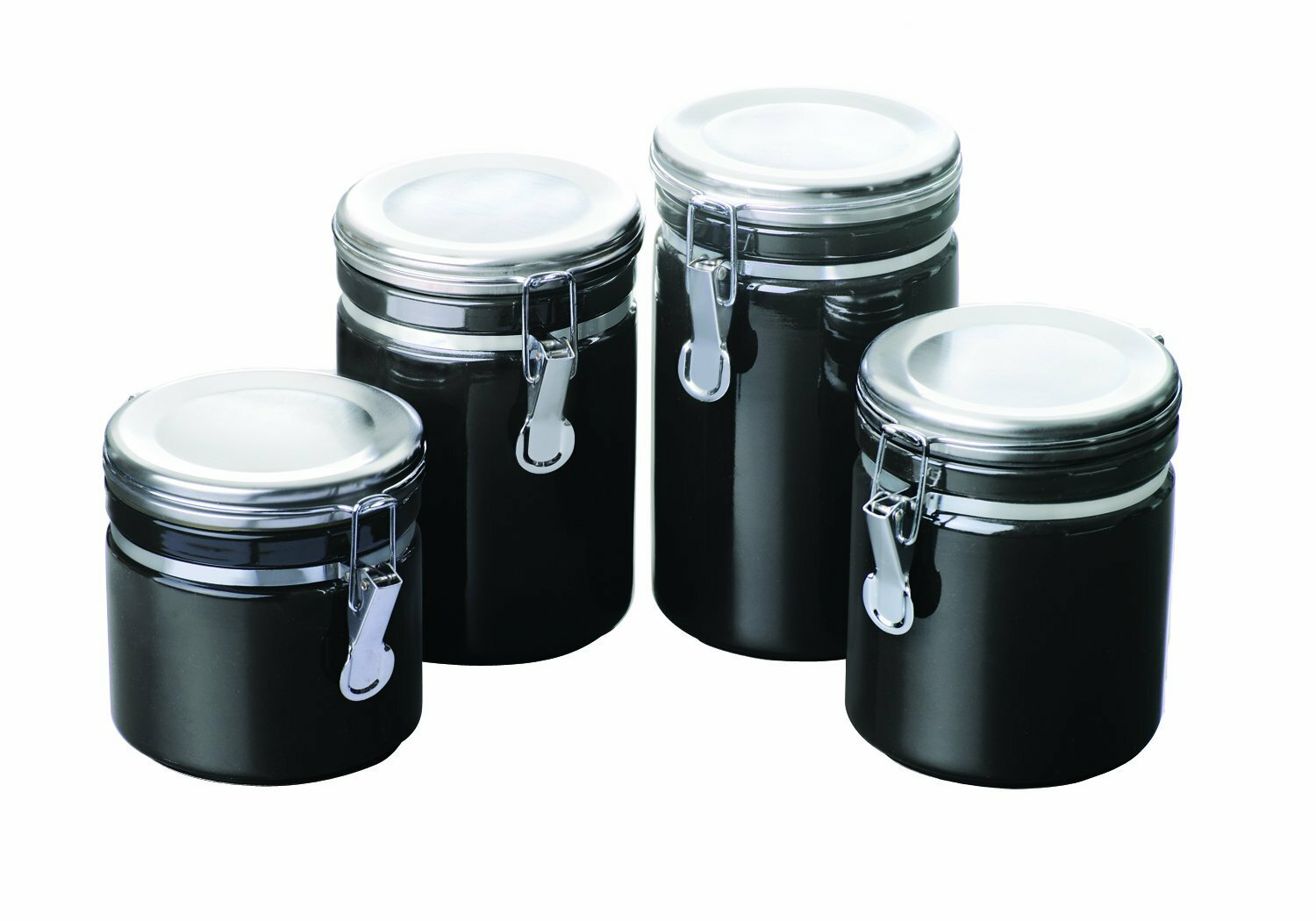 Anchor hocking 4 piece ceramic canister set ebay for Kitchen canisters set 4