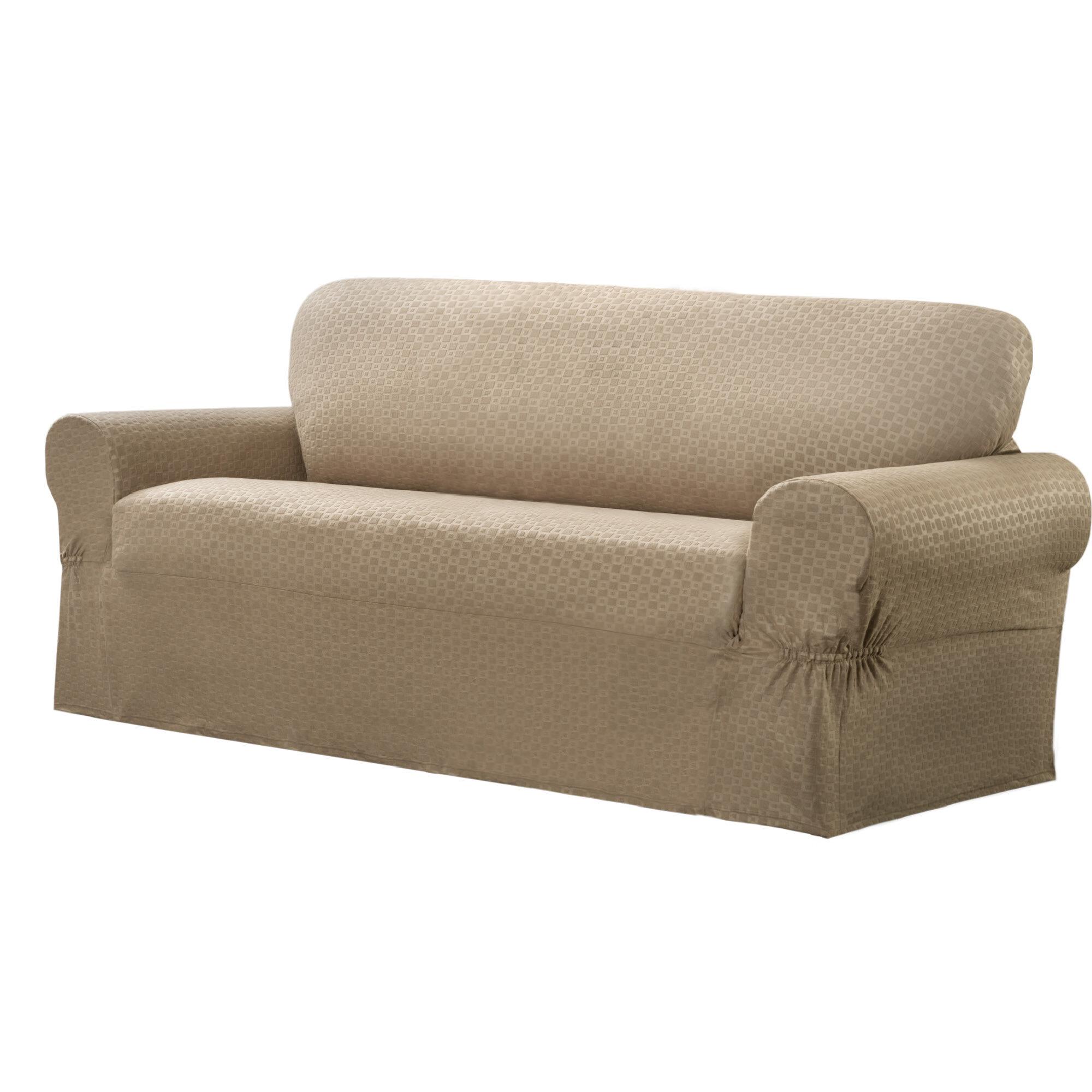 New Slipcover Stretch Sofa Cover Sofa With Loveseat Chair: Maytex Conrad Stretch Sofa Box Cushion Slipcover