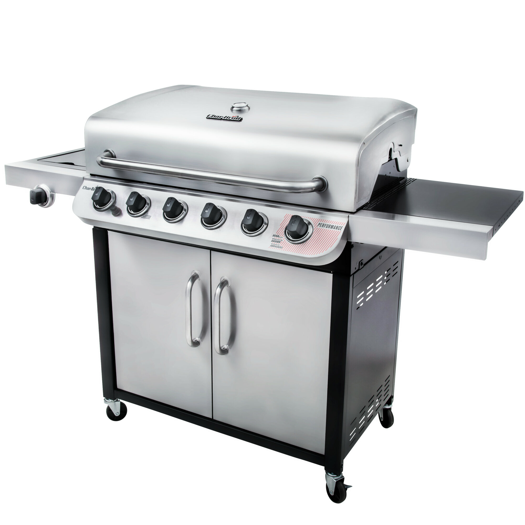 char broil performance 6 burner propane gas grill with cabinet. Black Bedroom Furniture Sets. Home Design Ideas